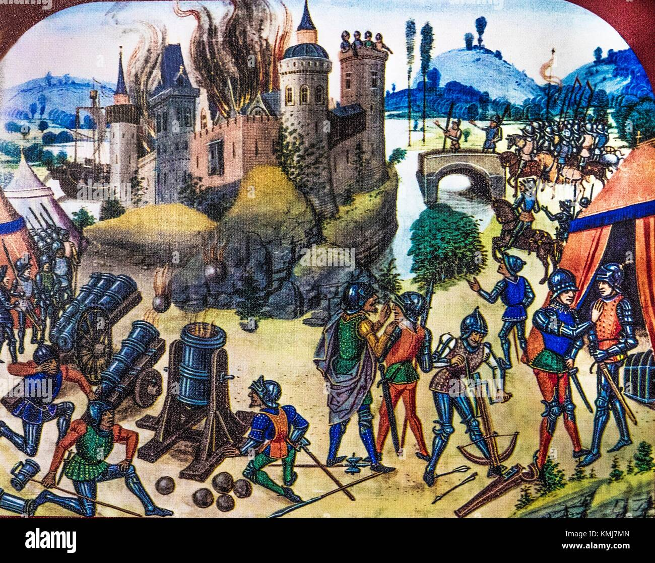 Belgium, Dinant- Miniature, XVc. reprenseting the attack of Charles Le Téméraire in 1466. - Stock Image