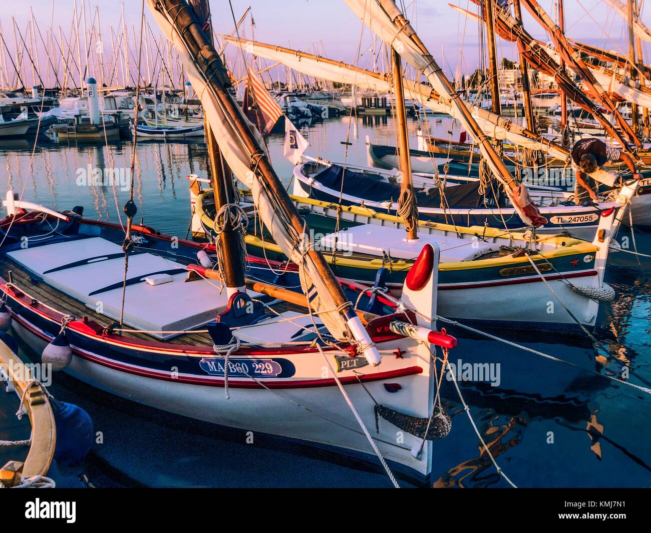 France, Paca-Cote d´Azur, the traditional fishing boats in the harbour of Bandol. - Stock Image
