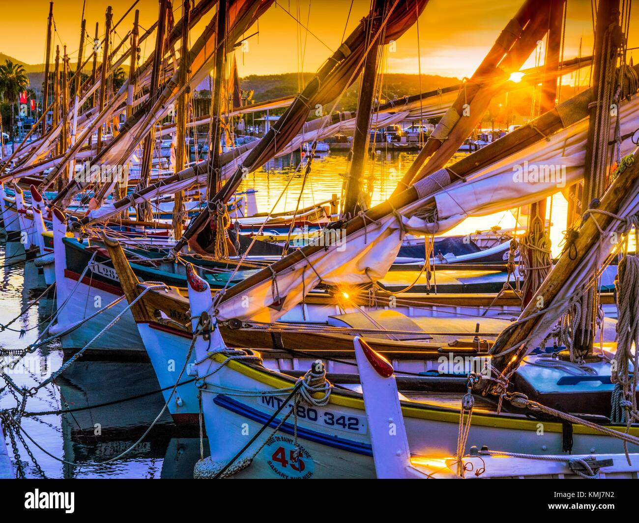 France, Paca-Cote d´Azur, sunrise on the fishing harbour at Bandol. - Stock Image
