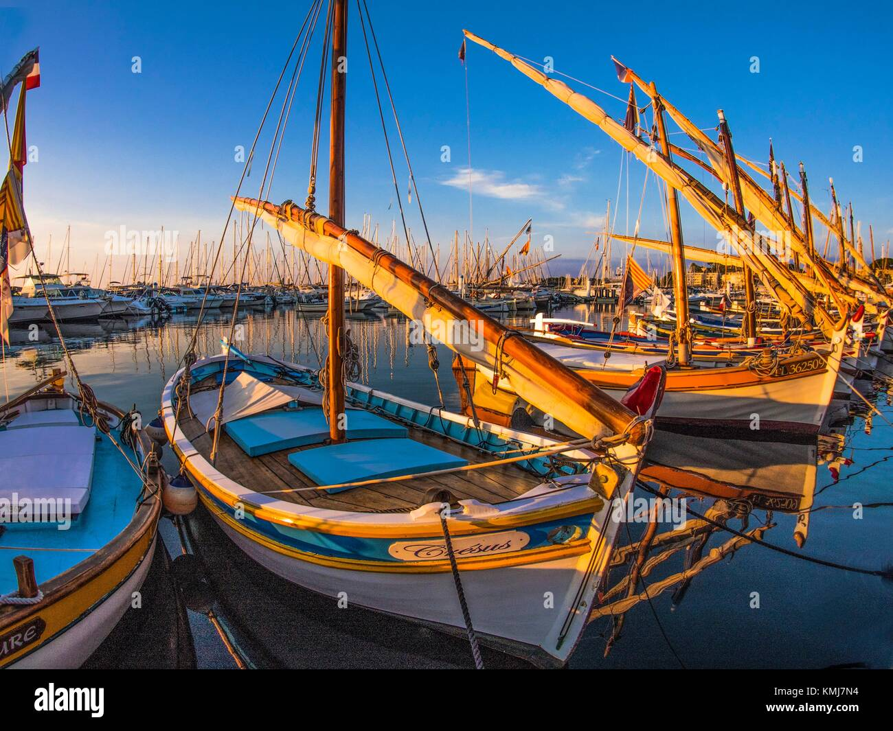 Freance-Paca-Cote d´Azur, traditional fishing boats at Bandol. - Stock Image