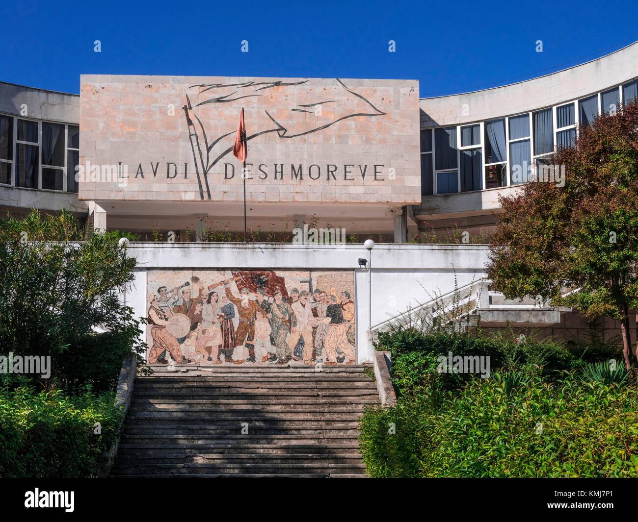 Albania, Durrés- at the ''Lavdi Deshmoreve'', mosaic of the communist time, under Enver Hoxha - Stock Image