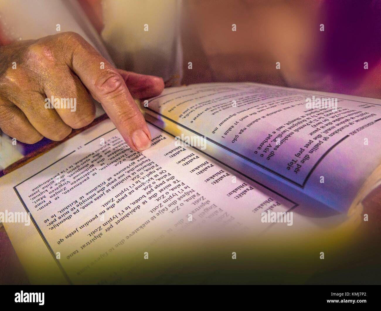 Albania, Fier- at the Trinity church of the monastery of Ardenicé: REEADING A DONG BOOK IN ALBANESE. Stock Photo