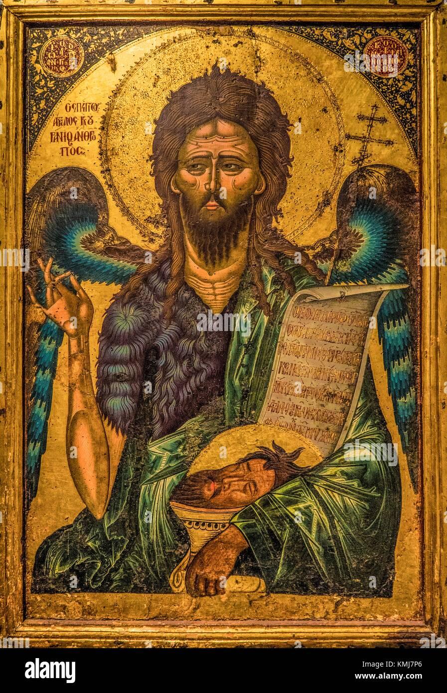 Albania, Berat- Onufri National Museum: Saint John the Baptist by Onufri, XVIc., the most important iconacaste painter - Stock Image
