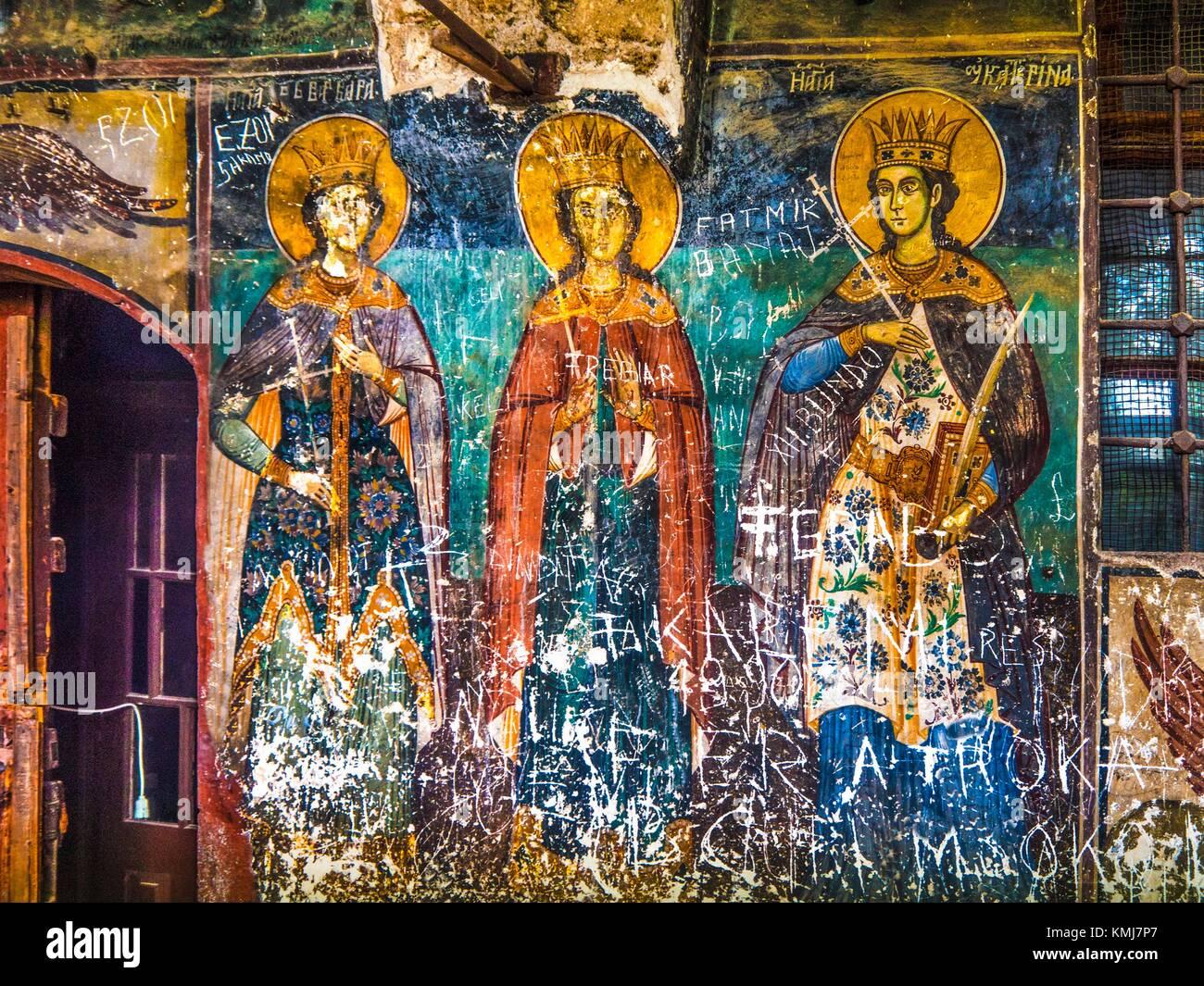 Albania, Voskopojë- Saint Nikkolas churcch. Exterior fresco representing Helene and Constantin. - Stock Image