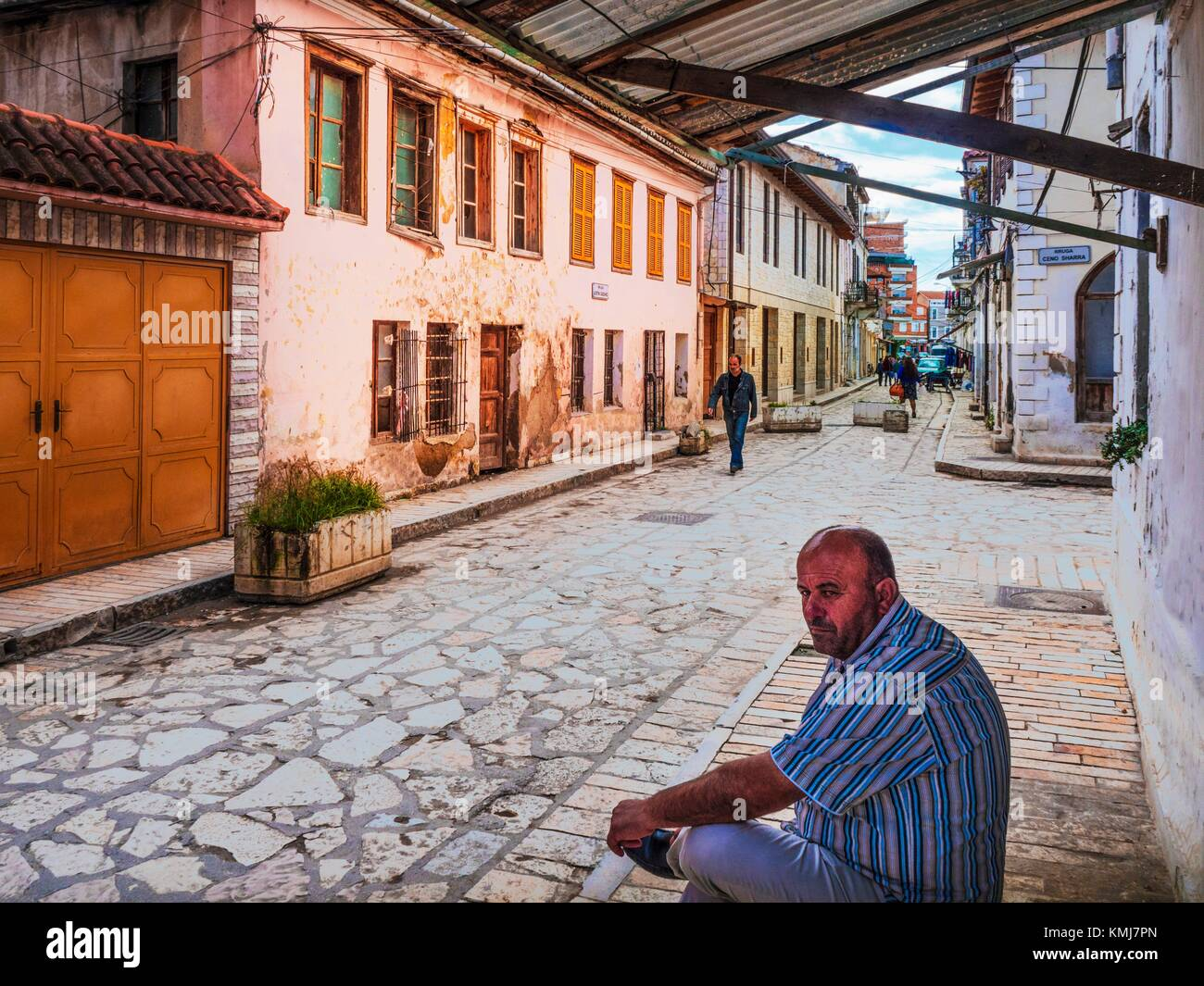 Albania, Vlorë, Justin Godard street, named after the freench Senator who came and support the Independance - Stock Image