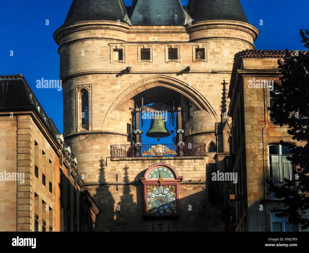 France, Nouvelle Aquitaine-Gironde- ''Grosse Cloche'' on Saint Eloï´s gate at Bordeaux. - Stock Image