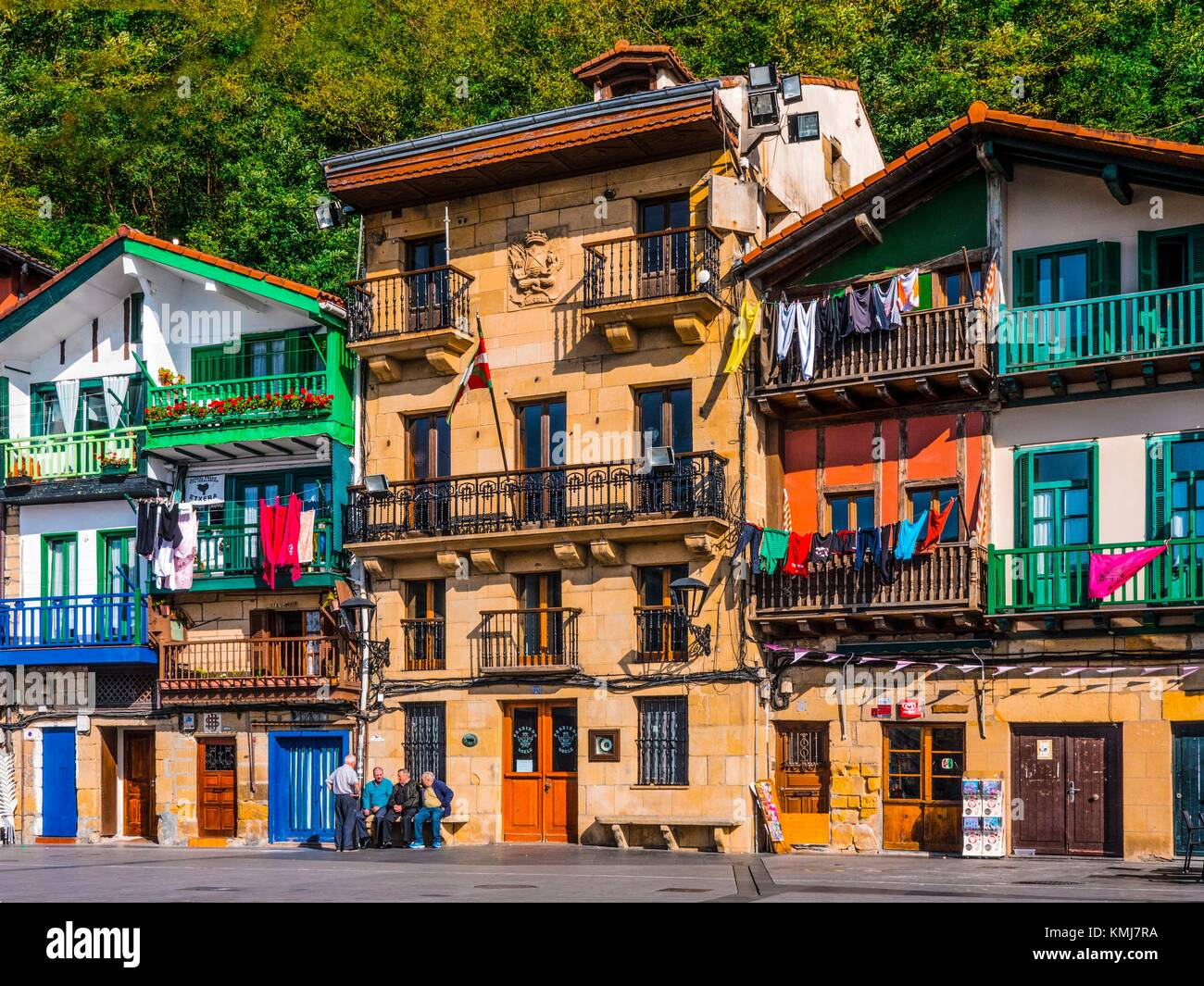 Spain- Guipuzcoa Basque country- Village of Donibane ( or Pasajes de San Juan) where the french writer Victor Hugo - Stock Image
