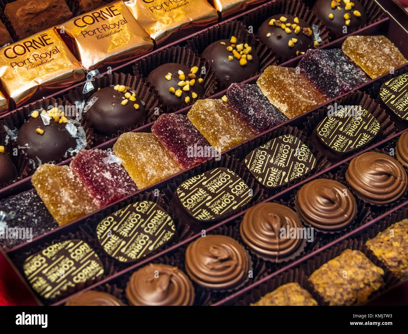 Belgium. Food, the famed belgian chocolates. - Stock Image