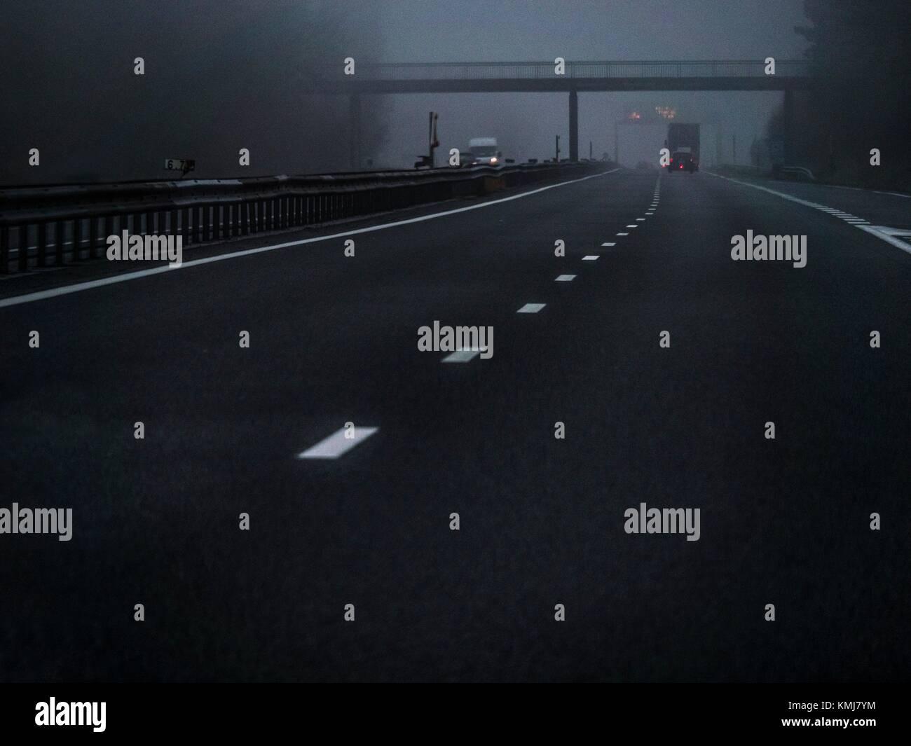Belgium. Highway between Mons and Brussels. - Stock Image