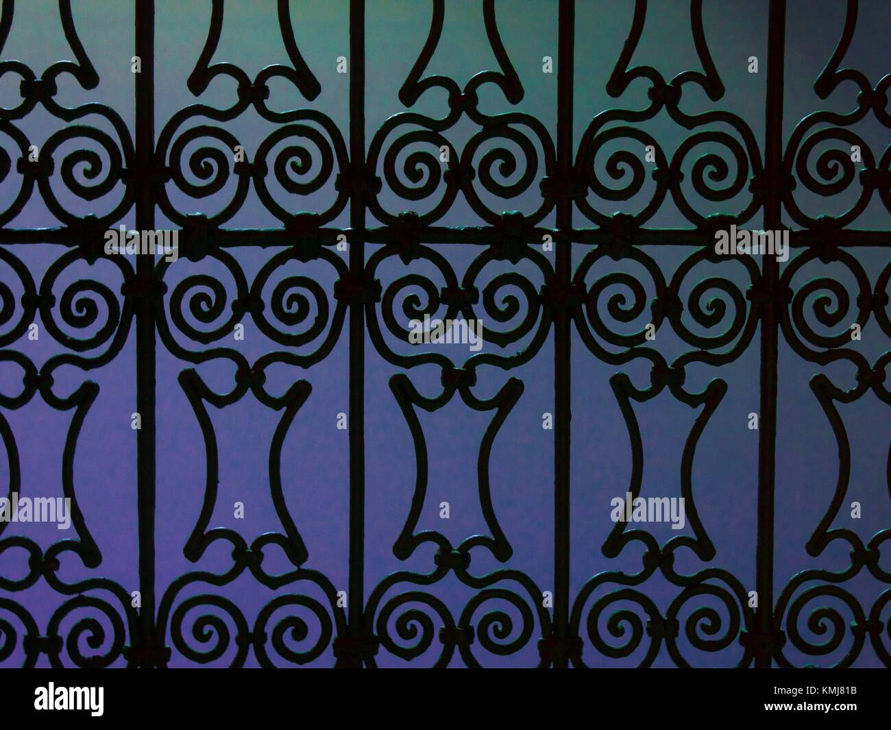 Morocco, Fes, iron work on a window of a 'Riad'. - Stock Image
