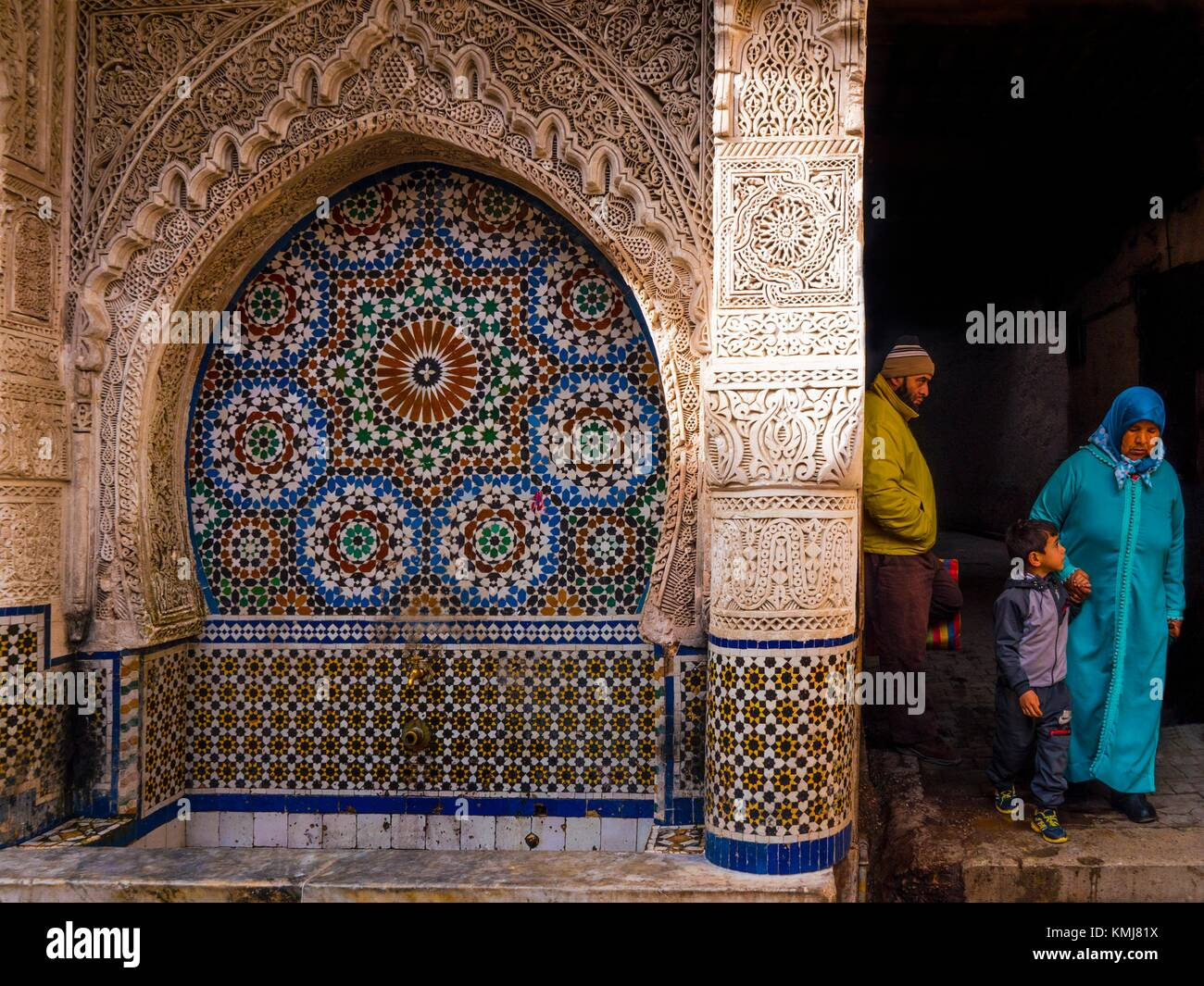 Morocco, Fes, Nejjarine fontain. The Nejjarine Fountain, best known of the medina´s mosaic fountains, and in - Stock Image