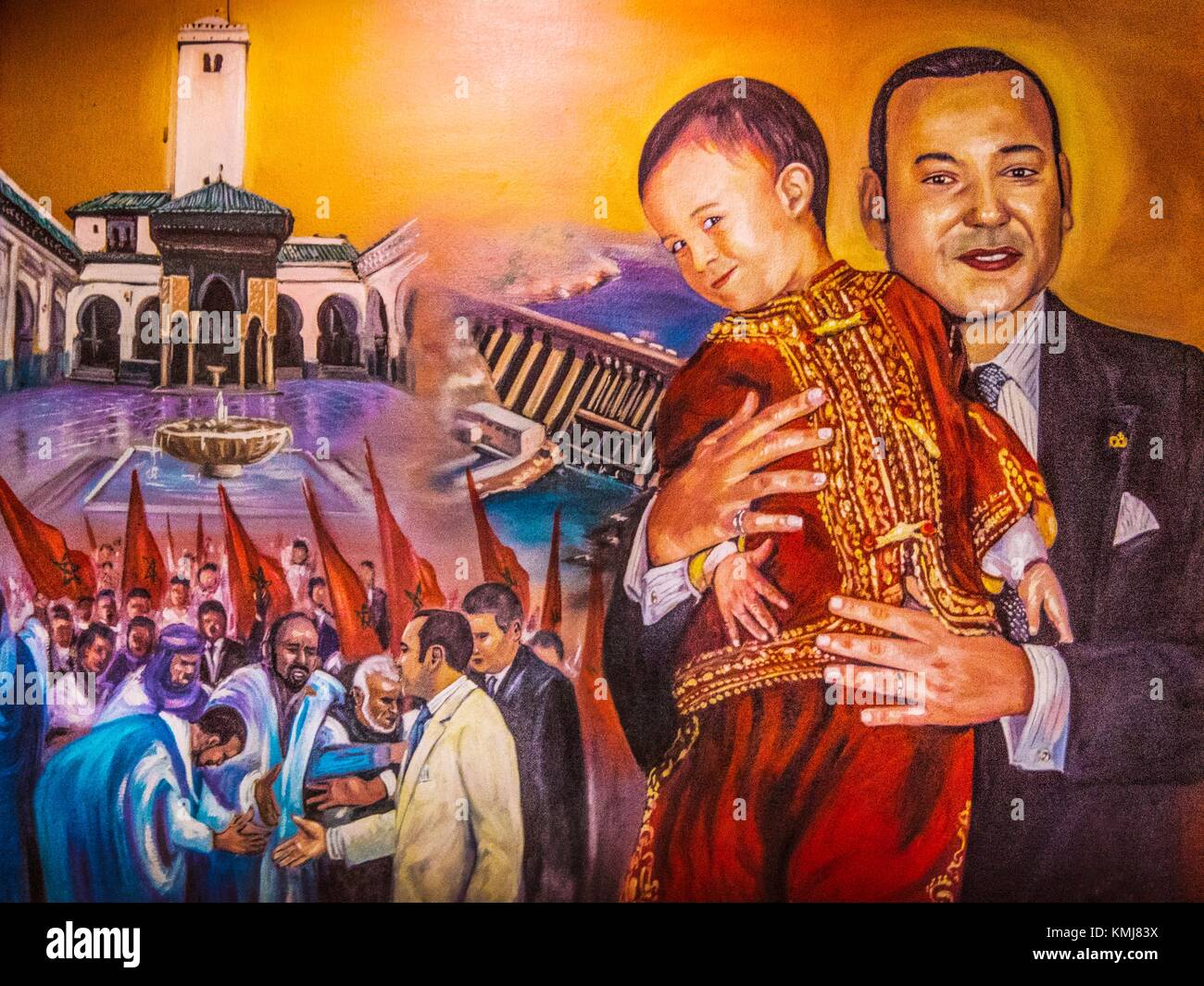 Morocco, Poster, representing King Mohamed VI and his son, meeting the moroccans, and giving culture (Karaouyne - Stock Image