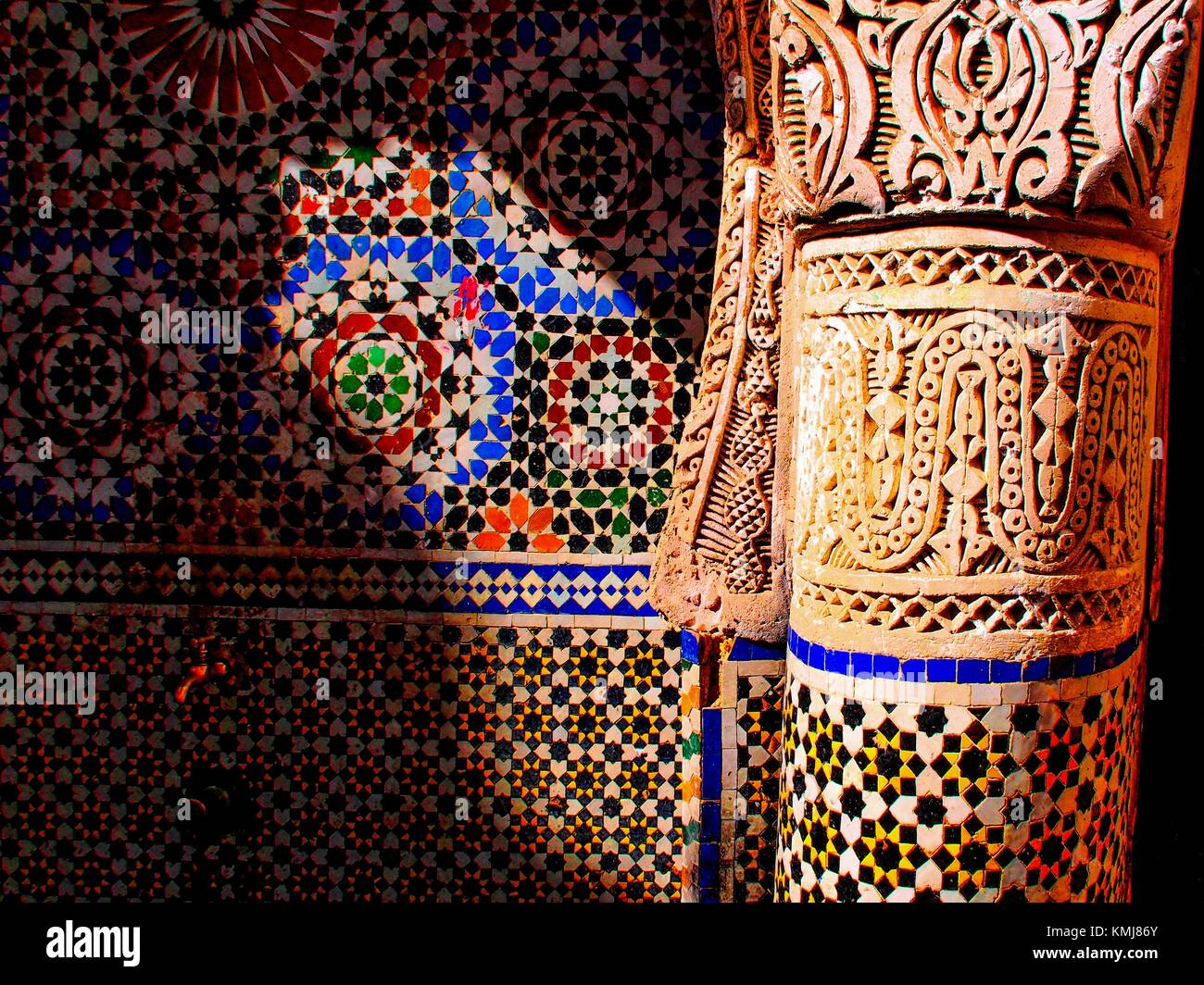 Morocco, Fes, detail of the Nejarrine fountain in the ''Medina'' (old part) of Fes. - Stock Image