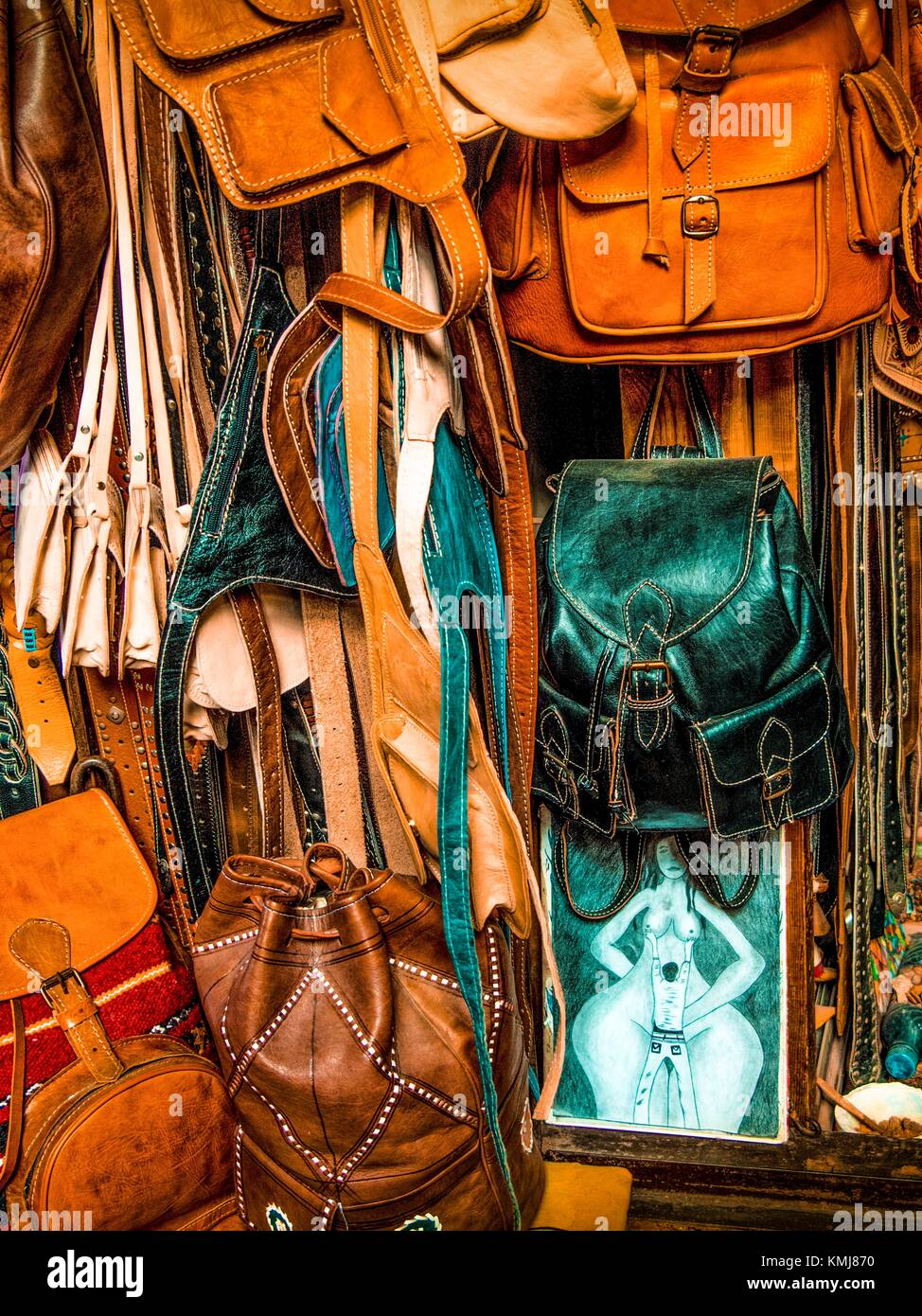 Morocco, Fes, Handycraft: leather bags and others handmade items, in a shop of the ''Medina'' (old - Stock Image