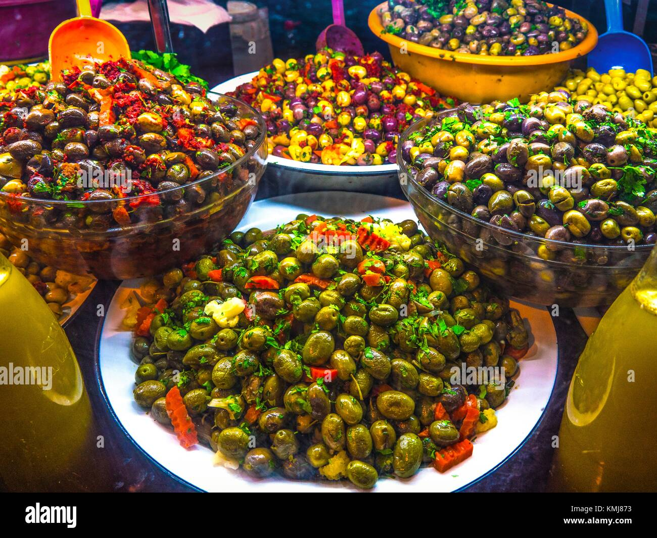 Morocco, Fes, Food, preserved olives on a stand in the ''Medina'' (old part) of Fes. - Stock Image