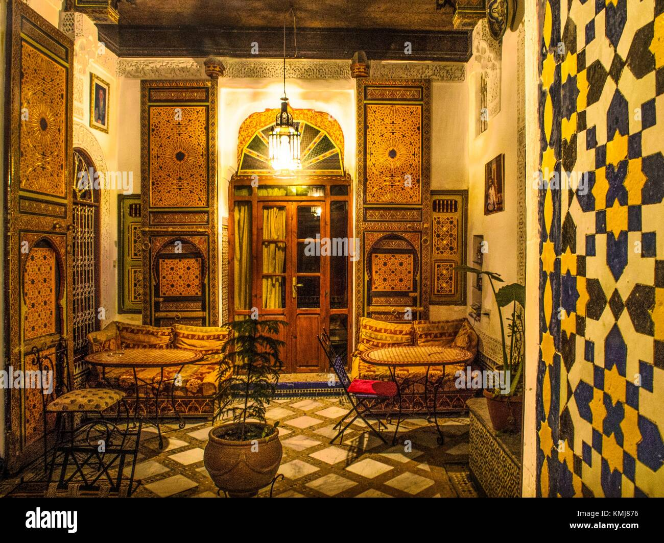 Morocco, Fes, Patio of the Riad Bou Iniana, in the ''Medina'' (old part) of Fes. - Stock Image