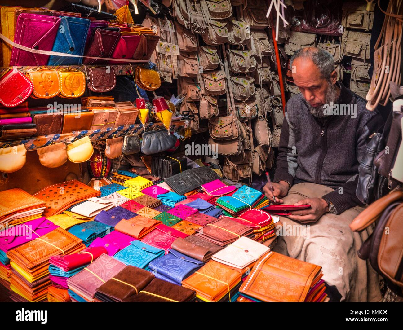 Morocco, Fes, handicraft- in a leather workshop in the 'Medina' (old part) of Fes. - Stock Image