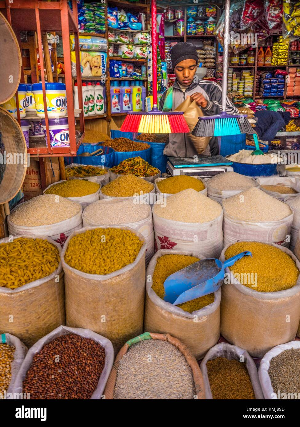 Morocco, Fes, General Store, conducted by a very young man (15-16 years old) in the 'Medina' (old part) - Stock Image