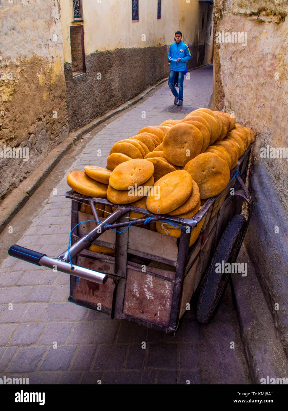 Morocco, Fes, cart full of breads, in the ''Medina'' (old part) of Fes. - Stock Image