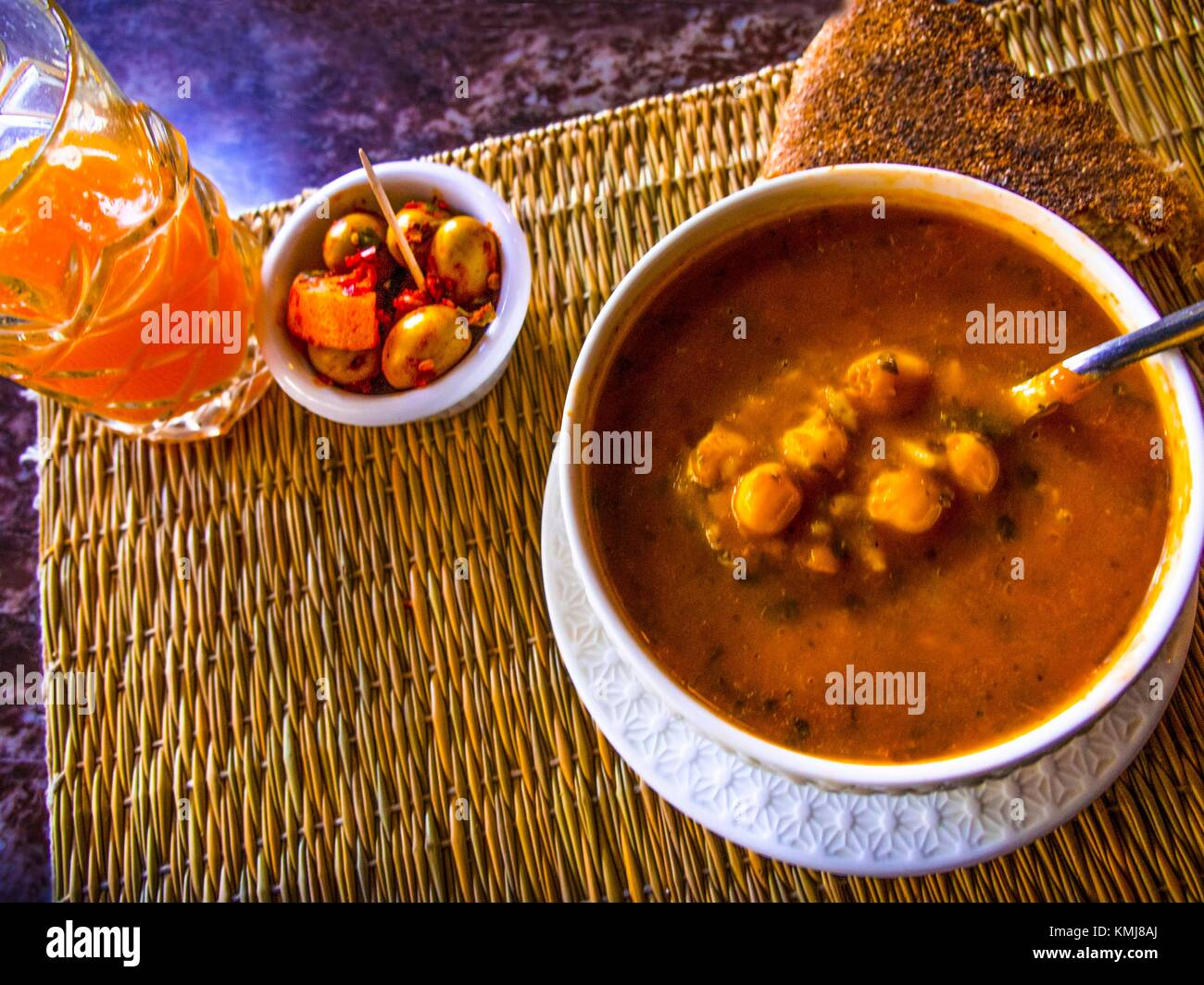 Morocco, Food, 'Ghrira' soup. Specialy made during the 'Ramadan'. - Stock Image