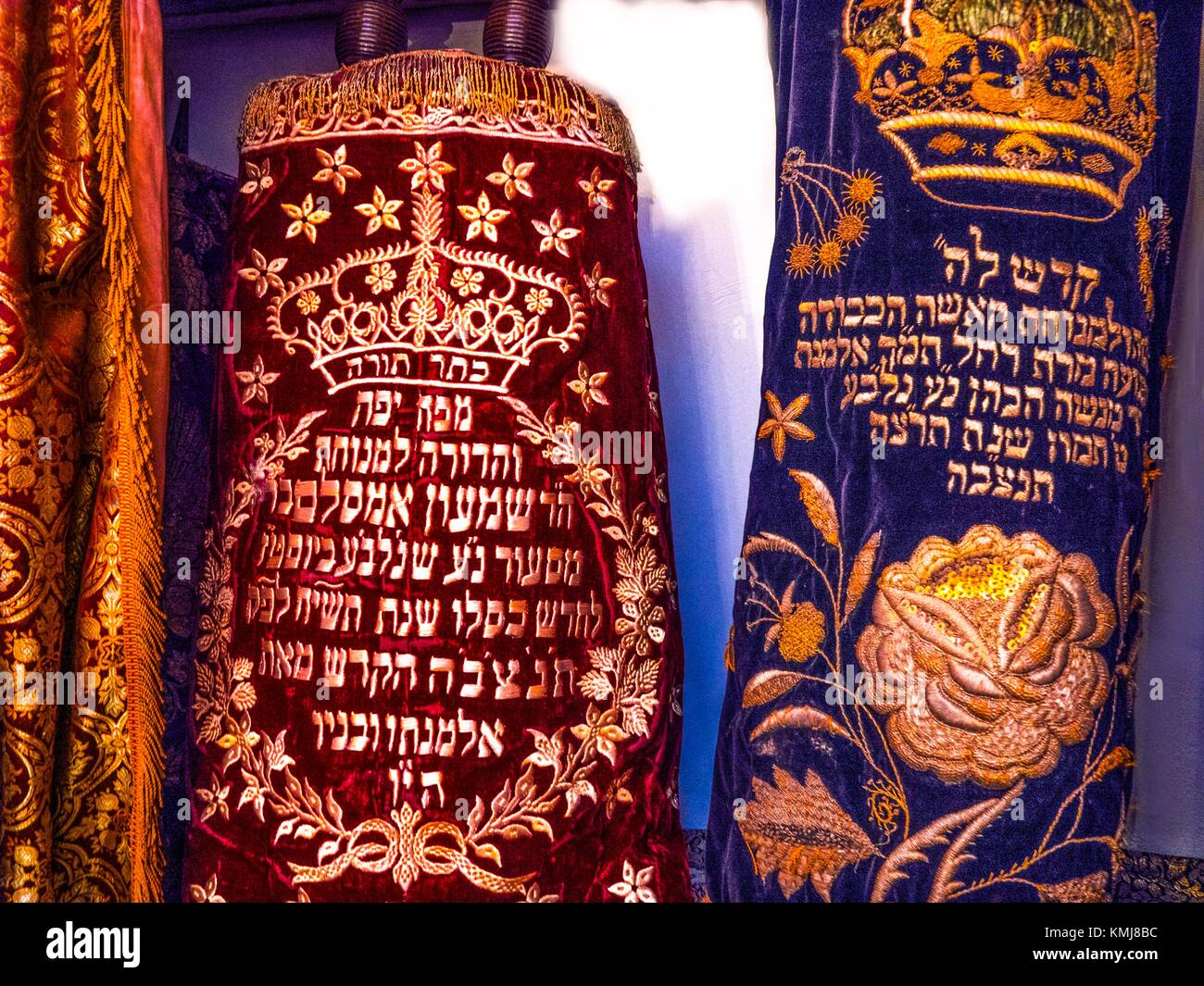Morocco, Tangier, 'Torah' religious rolls, at the former Synagogue of the 'Medina' at Tangier. - Stock Image