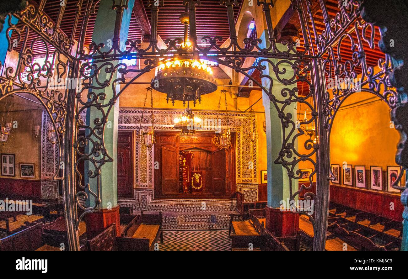 Morocco, Fes, Aben Danan Synagogue, XVIIc. in the 'Mellah' ( former jewish area) at Fes. - Stock Image