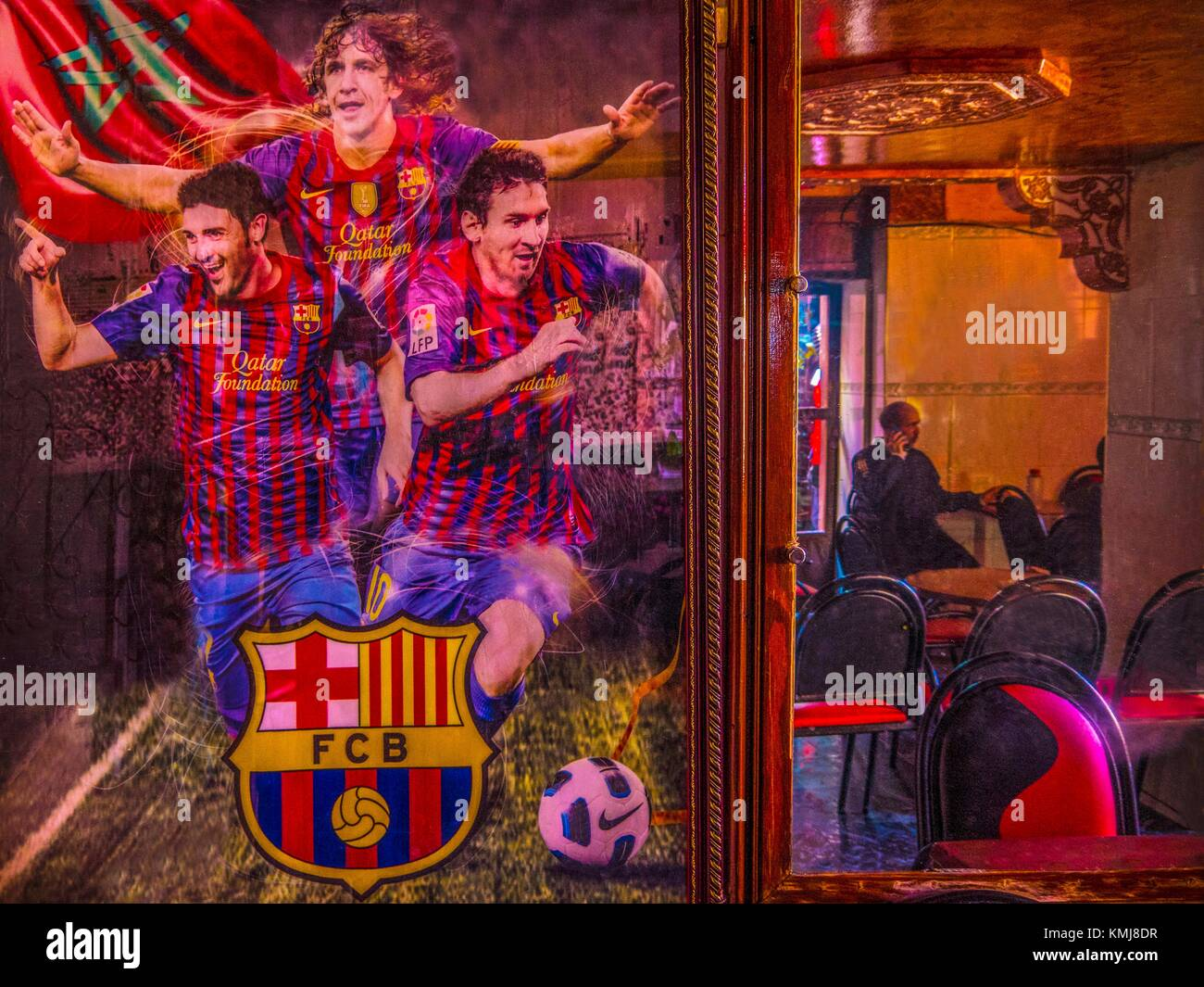 Morocco, Sefrou, Cafe Bab Al Maqam, with a bif poster of Football Club Barcelona,..in the 'Medina' (old - Stock Image