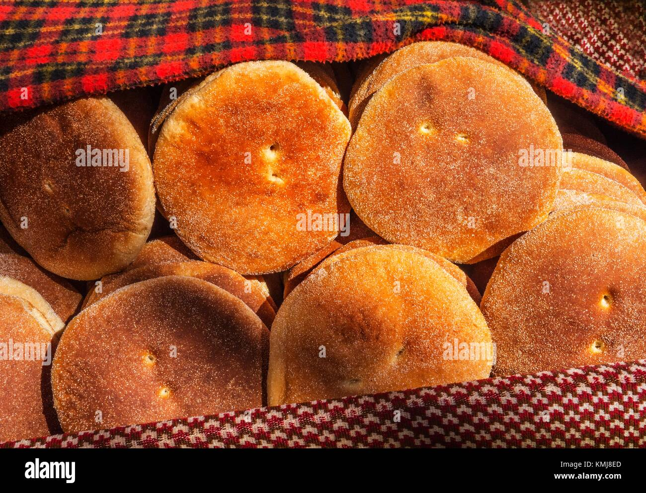 Morocco, Food, 'Kesra' typical round bread. - Stock Image