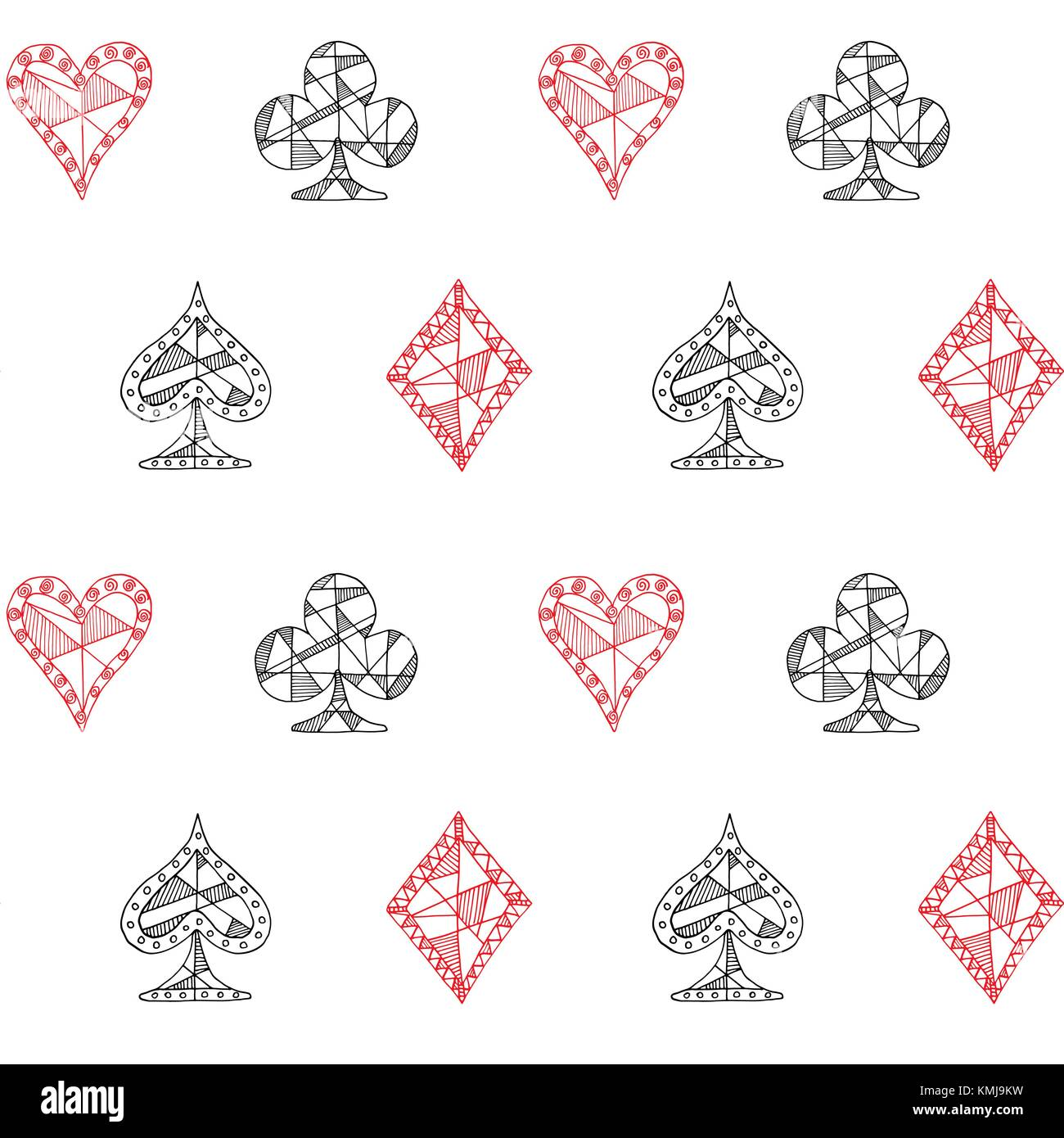 Hand Drawn Sketched Playing Cards Symbol Seamless Pattern Poker
