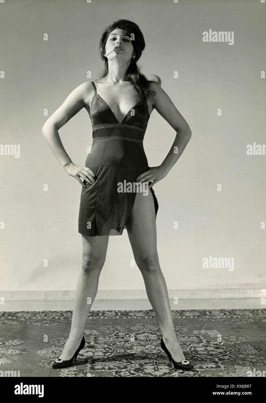 Model-actress from the 1960s posing - Stock Image