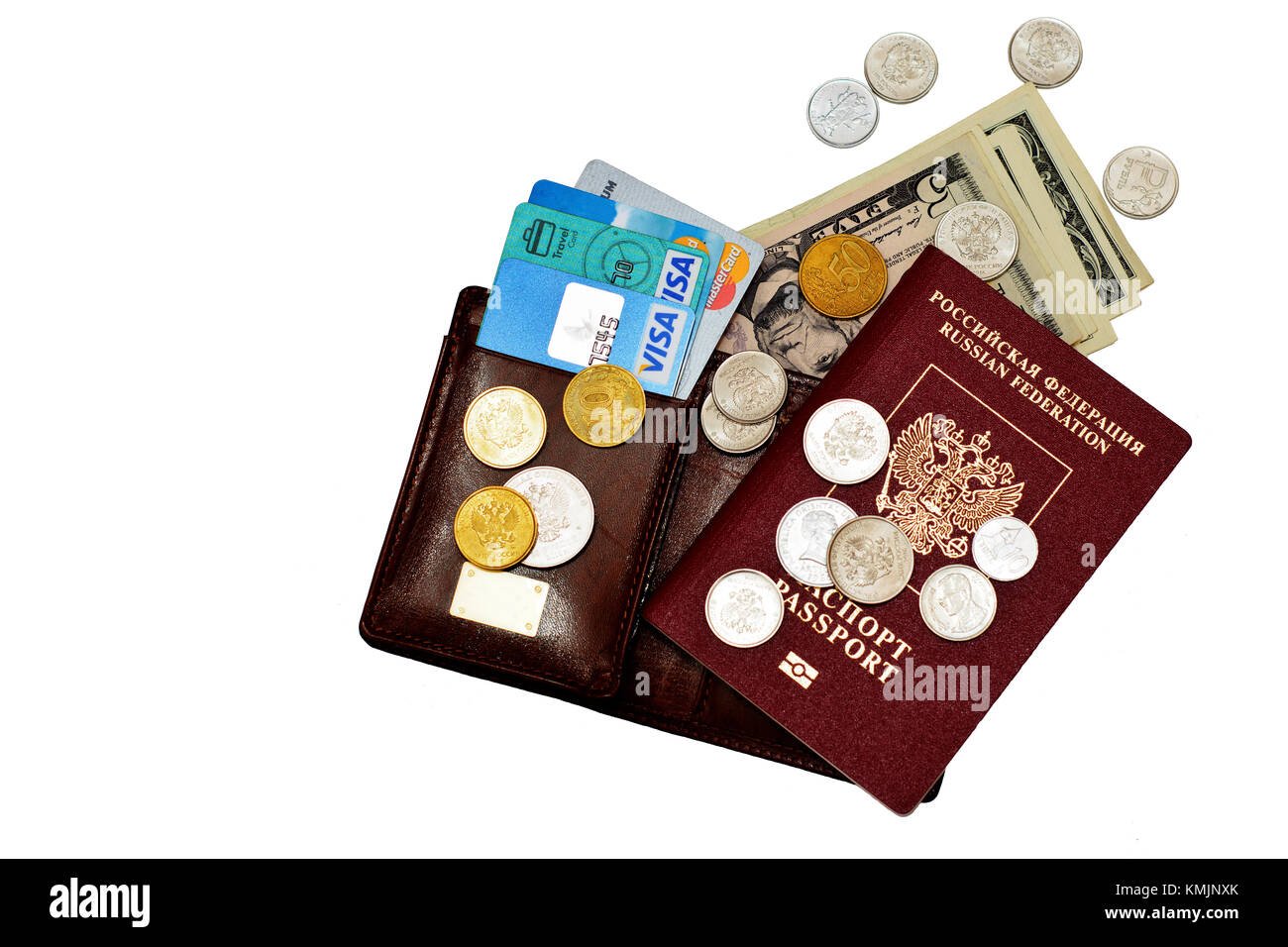 Passport number of credit cards and some cash, that's all you need for putishetviya world. Volgograd region, - Stock Image