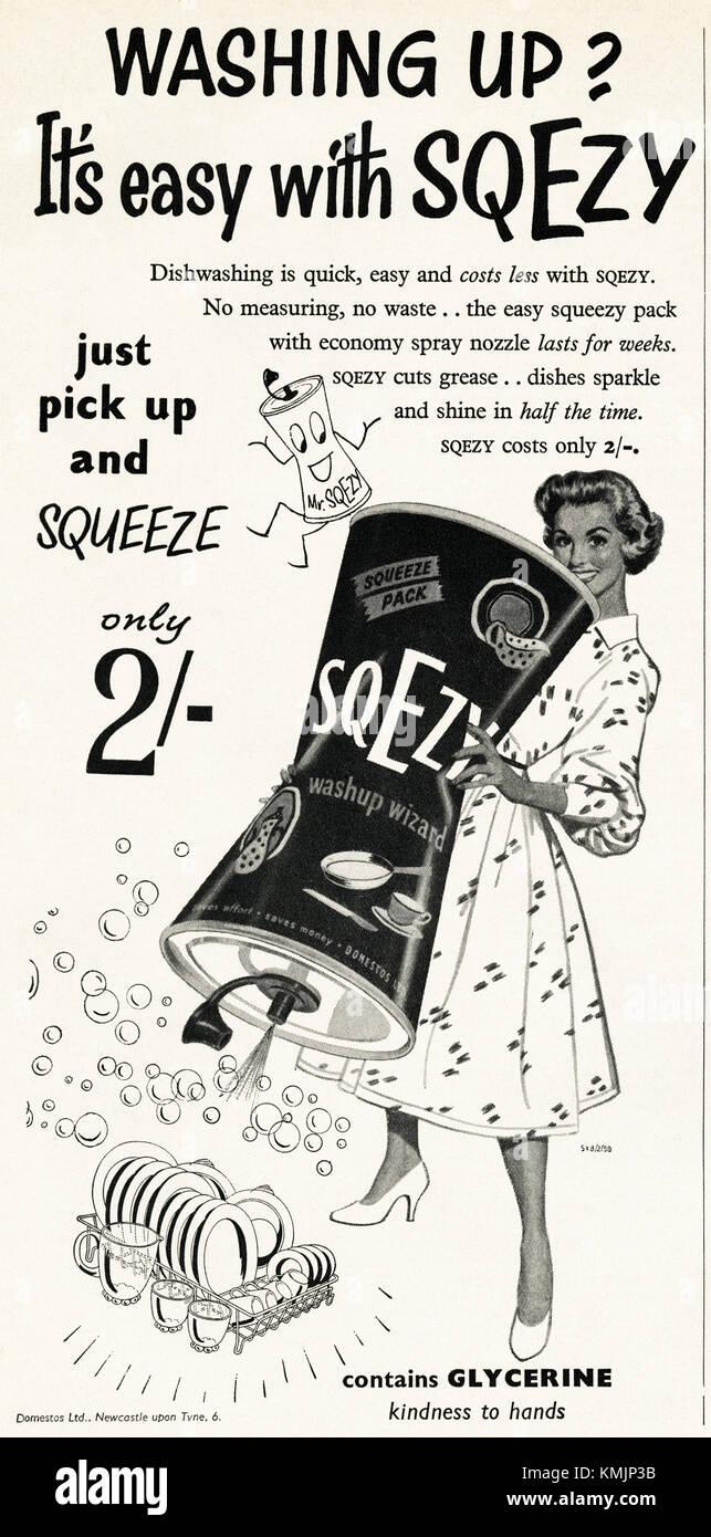 1950s old vintage original advert british magazine print advertisement advertising Sqezy washing up liquid containing - Stock Image
