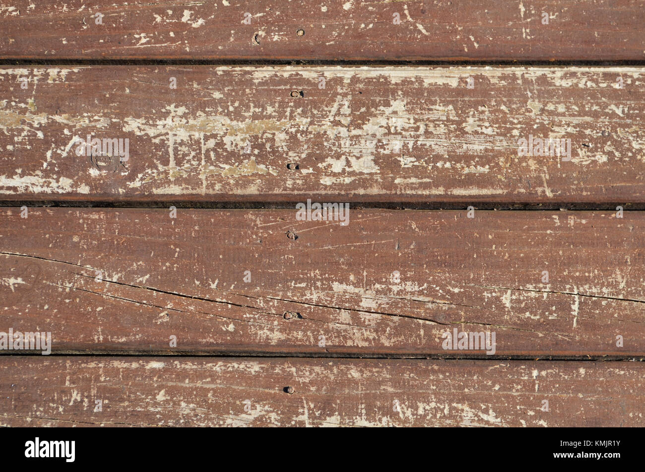 Close up of aged wooden floor boards - Stock Image