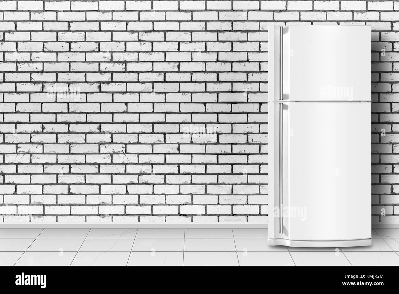 Major appliance - Refrigerator in front on a brick wall background Stock Photo