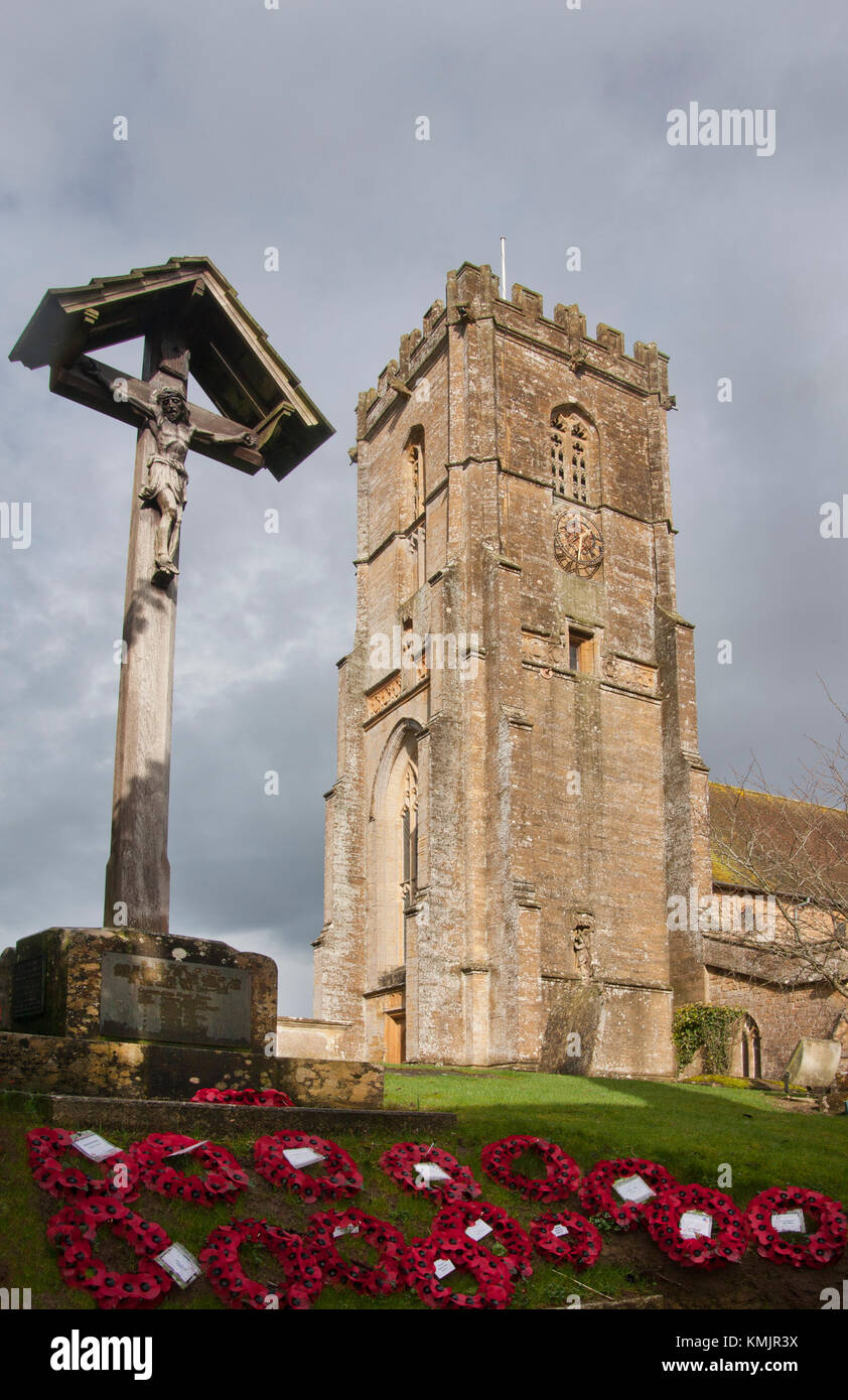 The 13th century Church of St Michael built of local hamstone, Shepton Beauchamp, South Somerset - Stock Image