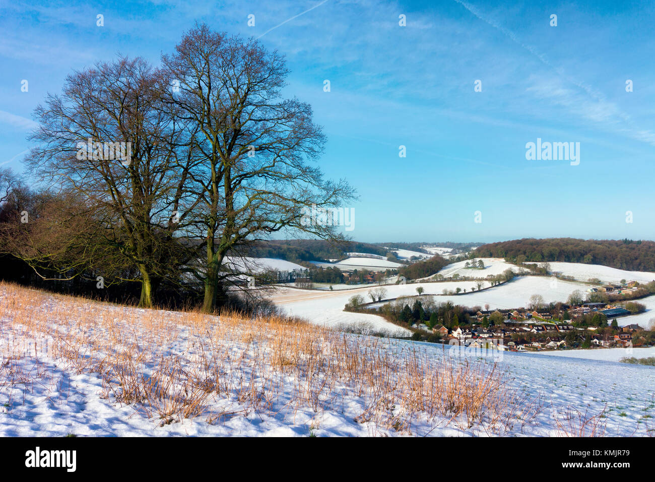 North Dean winter view in the Chilterns, Buckinghamshire, England - Stock Image