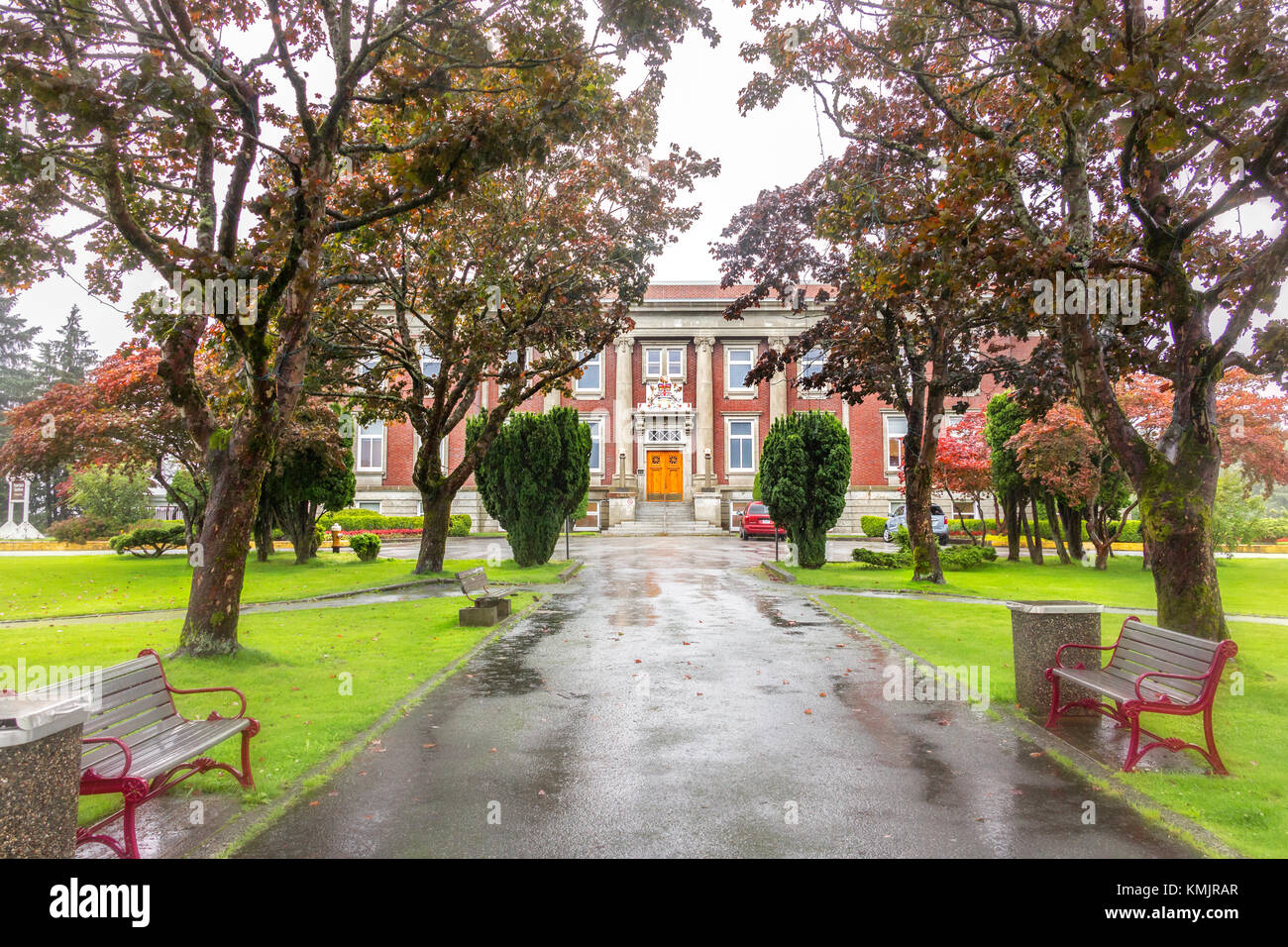 Prince Rupert, British Columbia, Canada - August 23th, 2017: The Crown Counsel building, courthouse of Prince Rupert - Stock Image
