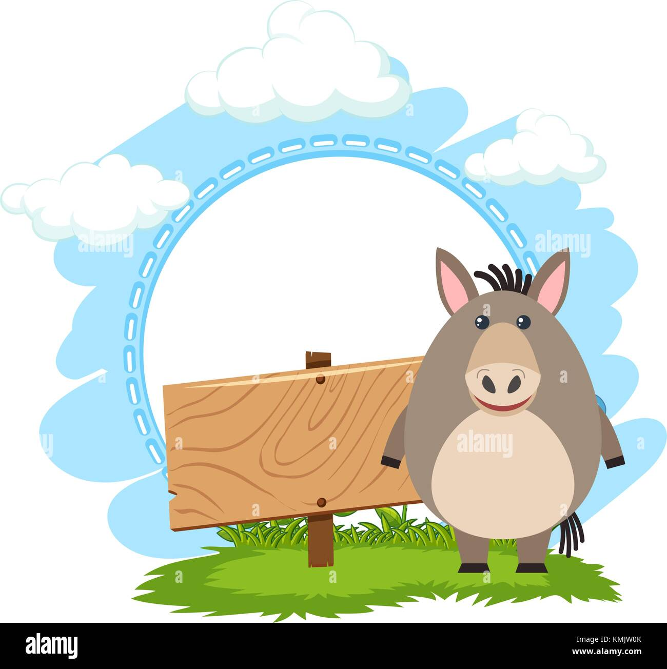 sign template with cute donkey illustration stock vector art