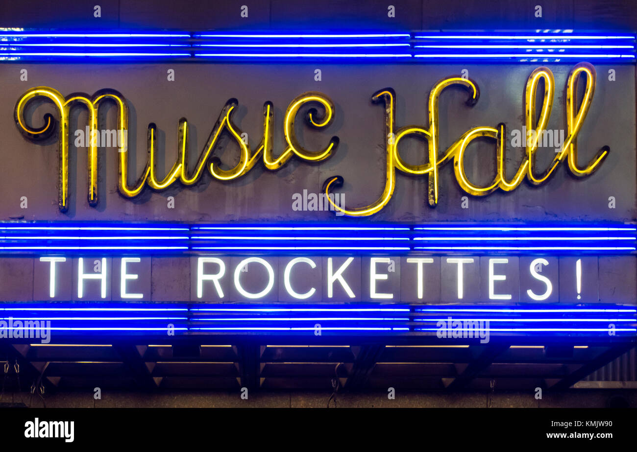 Marquee announcing the appearance of the Rockettes at the Radio City Music Hall in New York City - Stock Image