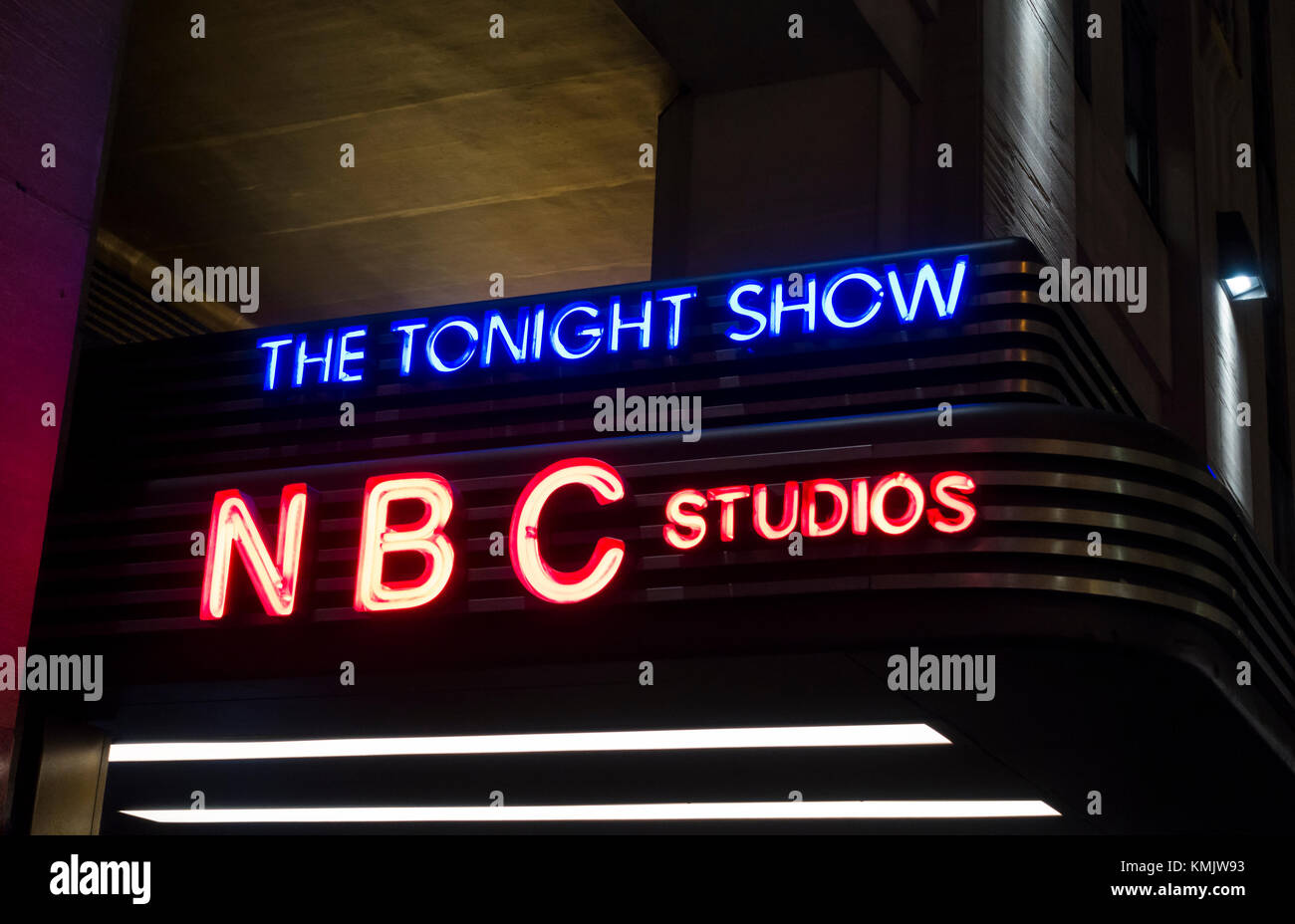 Marquee at the entrance to the Tonight Show at the NBC Studios in New York City - Stock Image
