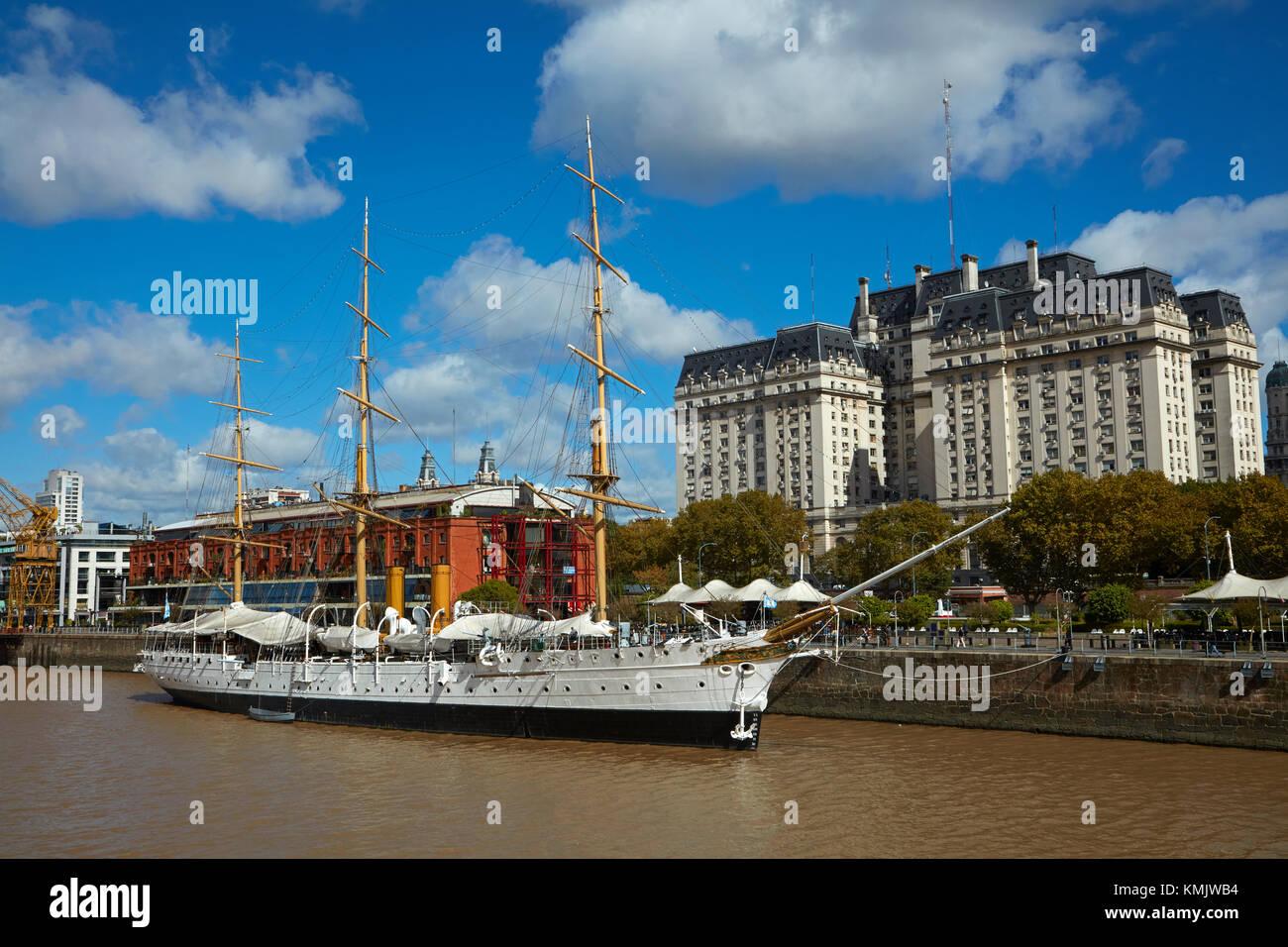 ARA Presidente Sarmiento tall ship (1897) on Rio Darsena Sur, and Libertador Building, Puerto Madero, Buenos Aires, - Stock Image