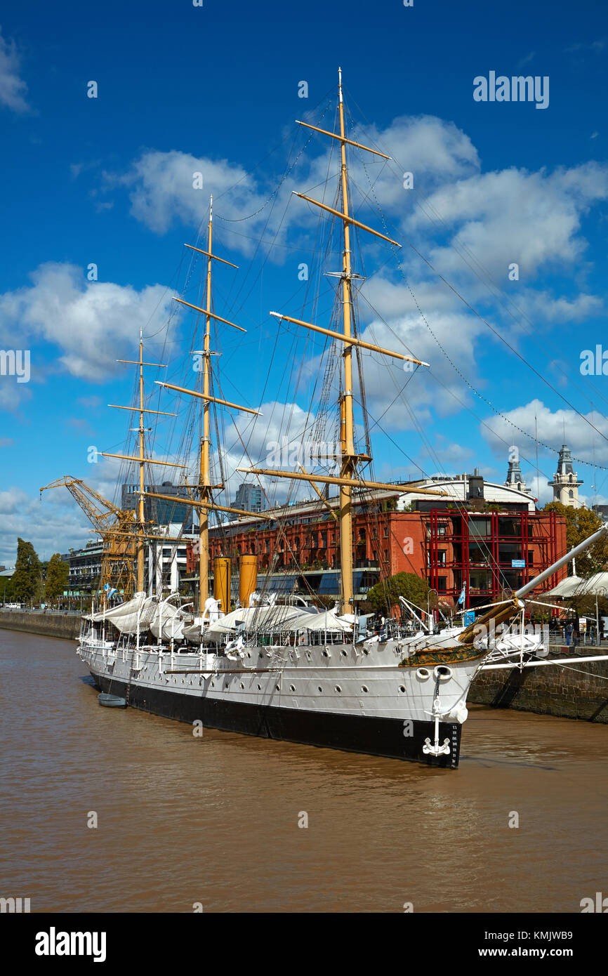 ARA Presidente Sarmiento tall ship (1897) on Rio Darsena Sur, Puerto Madero, Buenos Aires, Argentina, South America - Stock Image