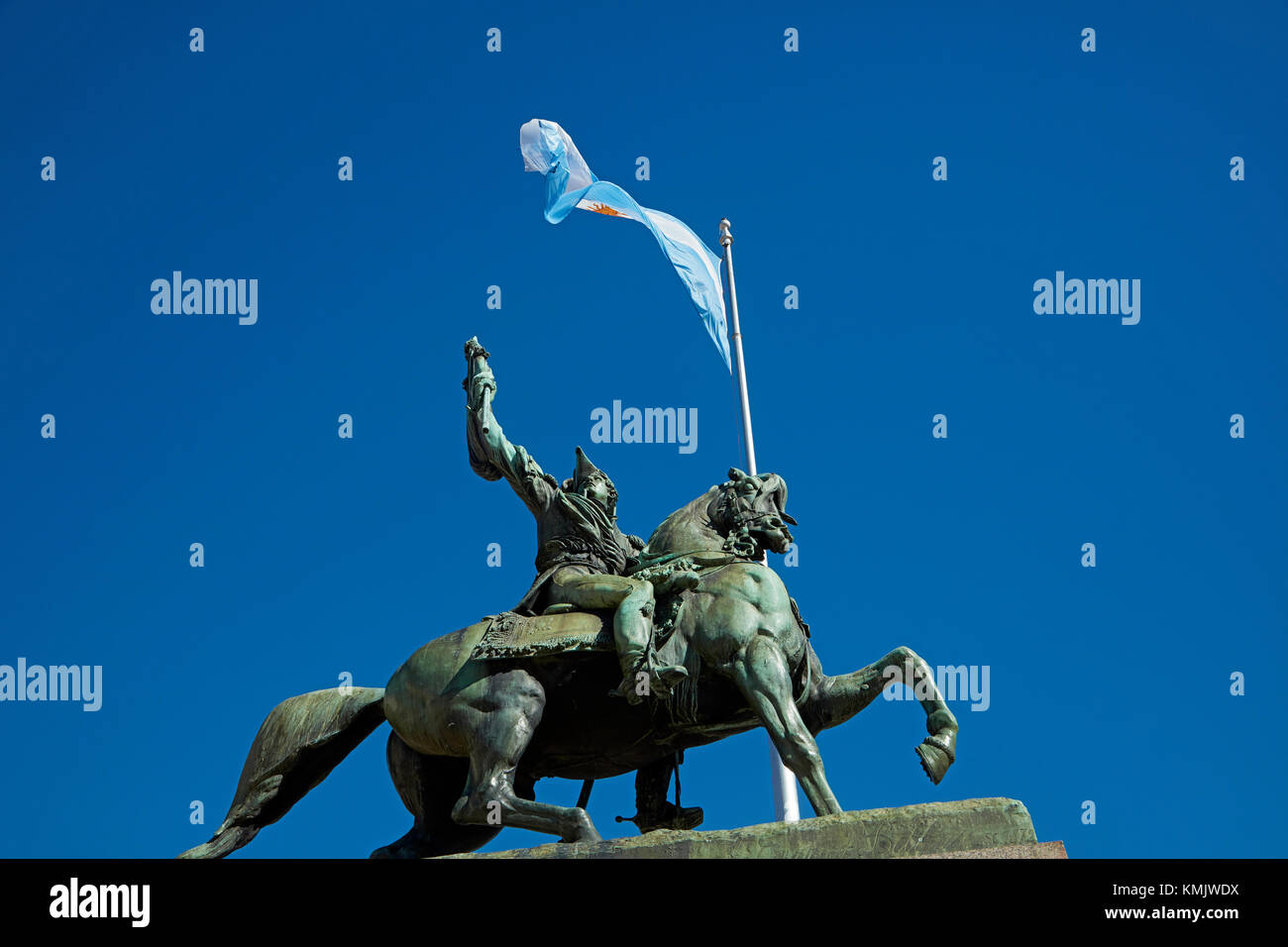 Statue of General Manuel Belgrano, and Argentine flag, Plaza de Mayo, Buenos Aires, Argentina, South America - Stock Image