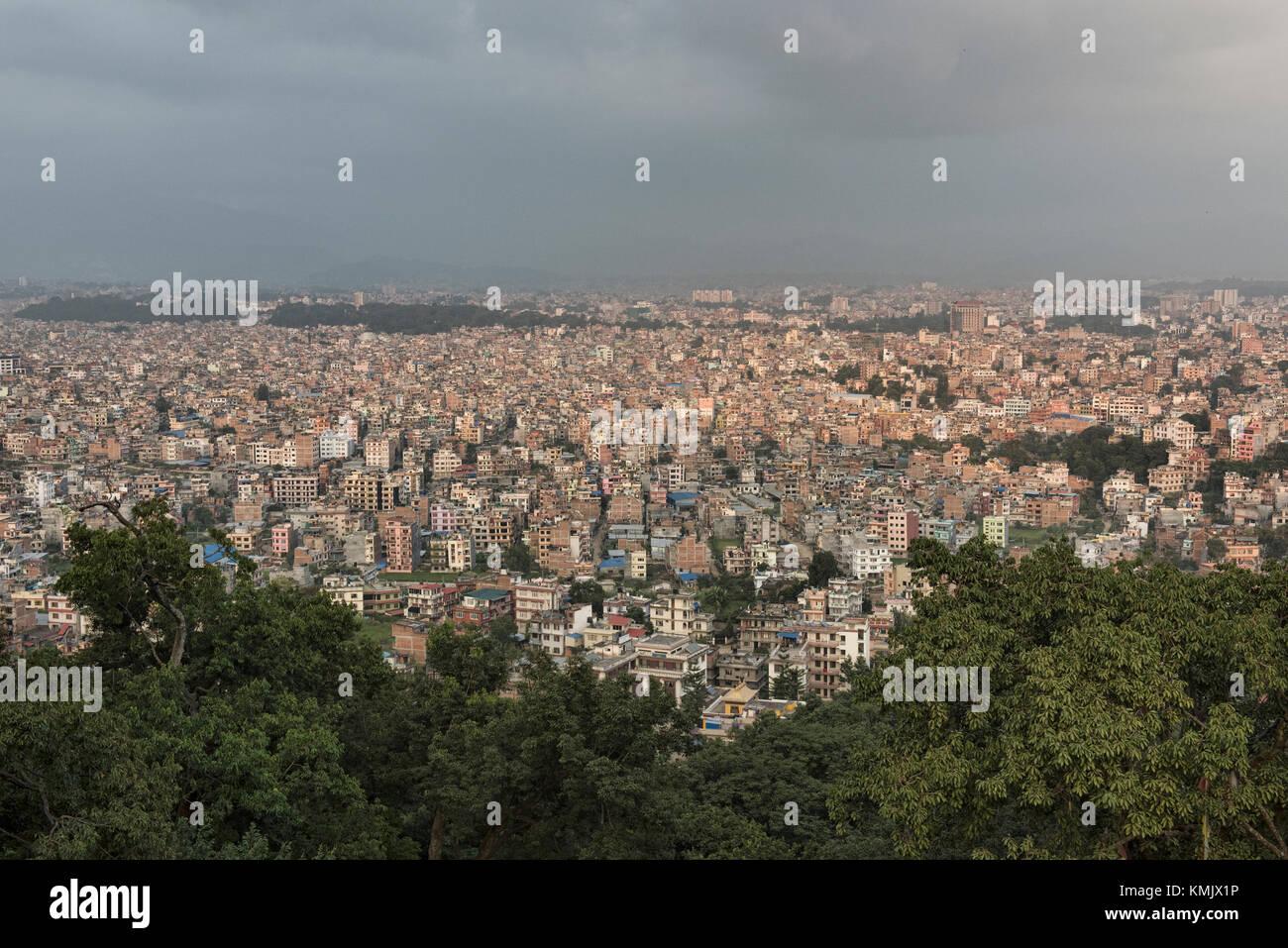 View of the Kathmandu sprawl from Swayambhunath Temple, Kathmandu, Nepal - Stock Image