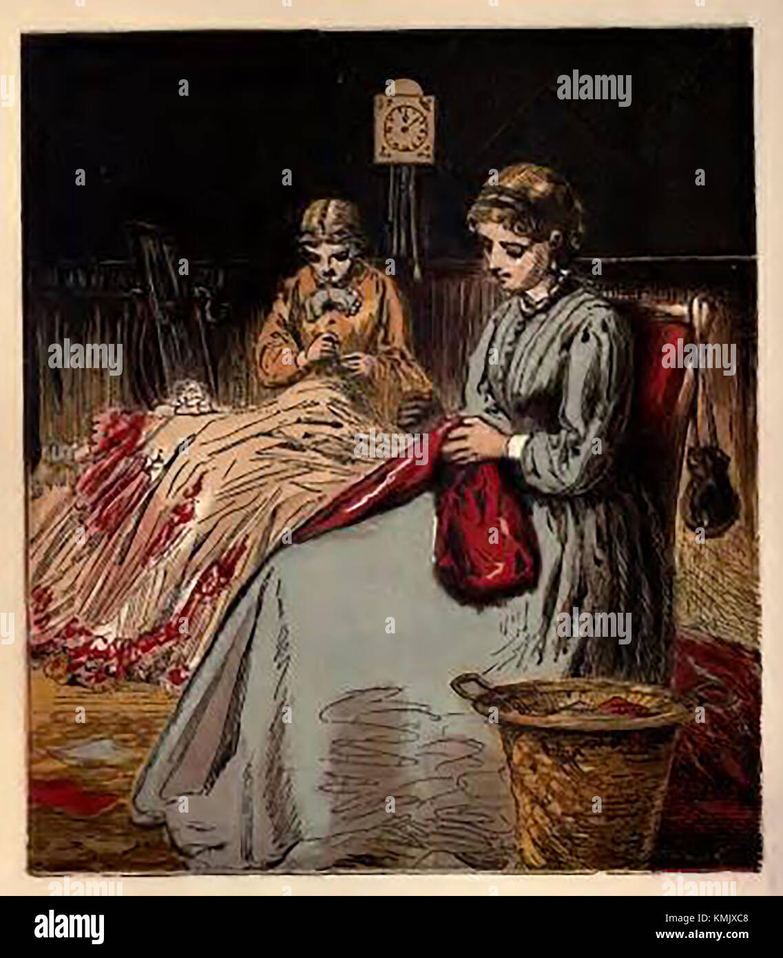 Victorian pastimes (from a coloured children's picture book. - Sewing and mending - Stock Image