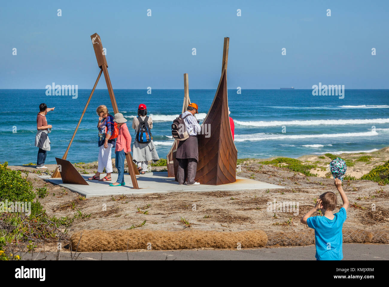 Australia, New South Wales, Newcastle, Nobbys Head, sculpture commemorating the Newcastle Lifeboat Service and Rocket - Stock Image