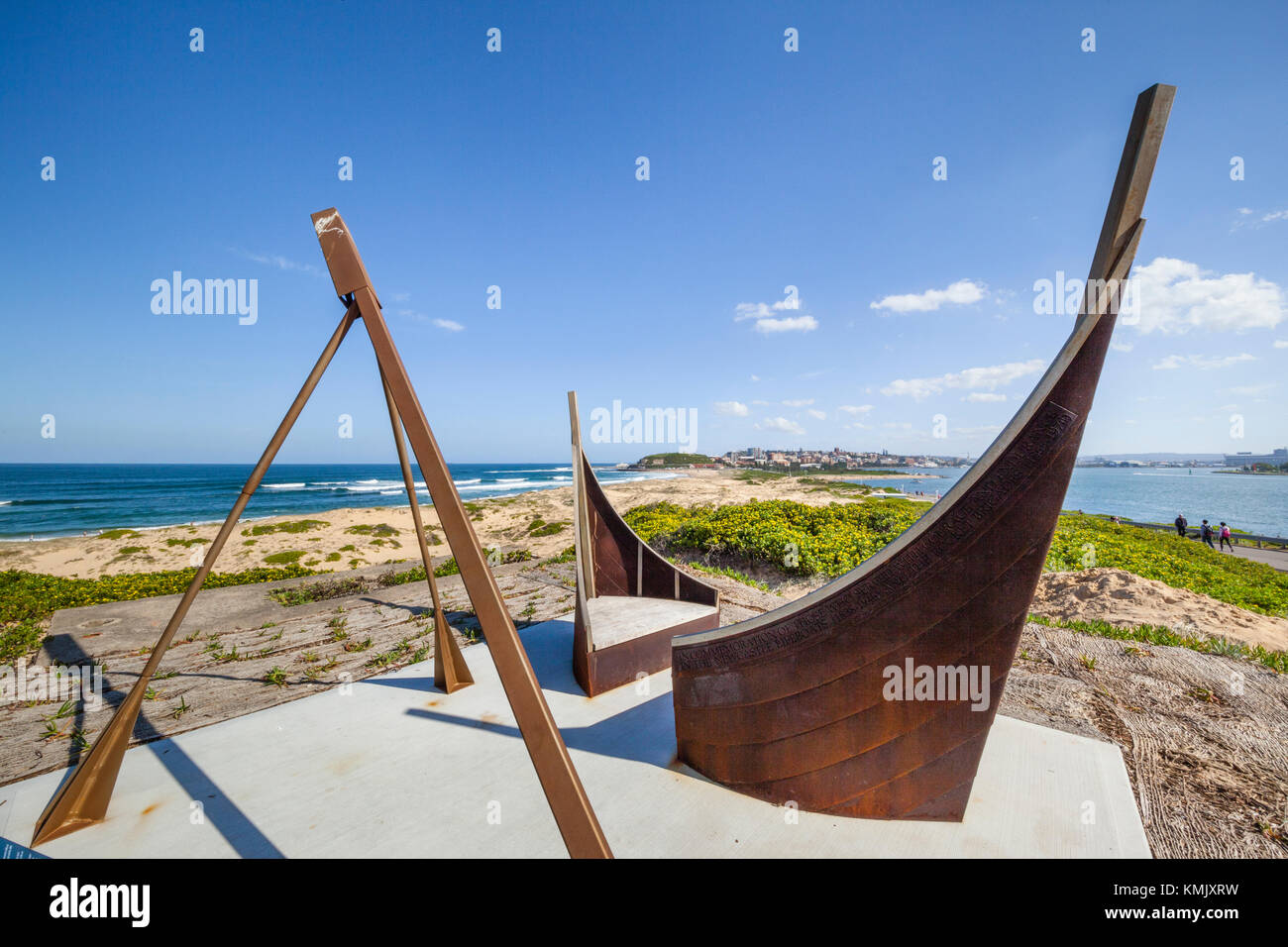 Australia, New South Wales, Newcastle, Nobbys Head, sculpture commemorating the Newcastle Lifeboat Service and Rocket Stock Photo