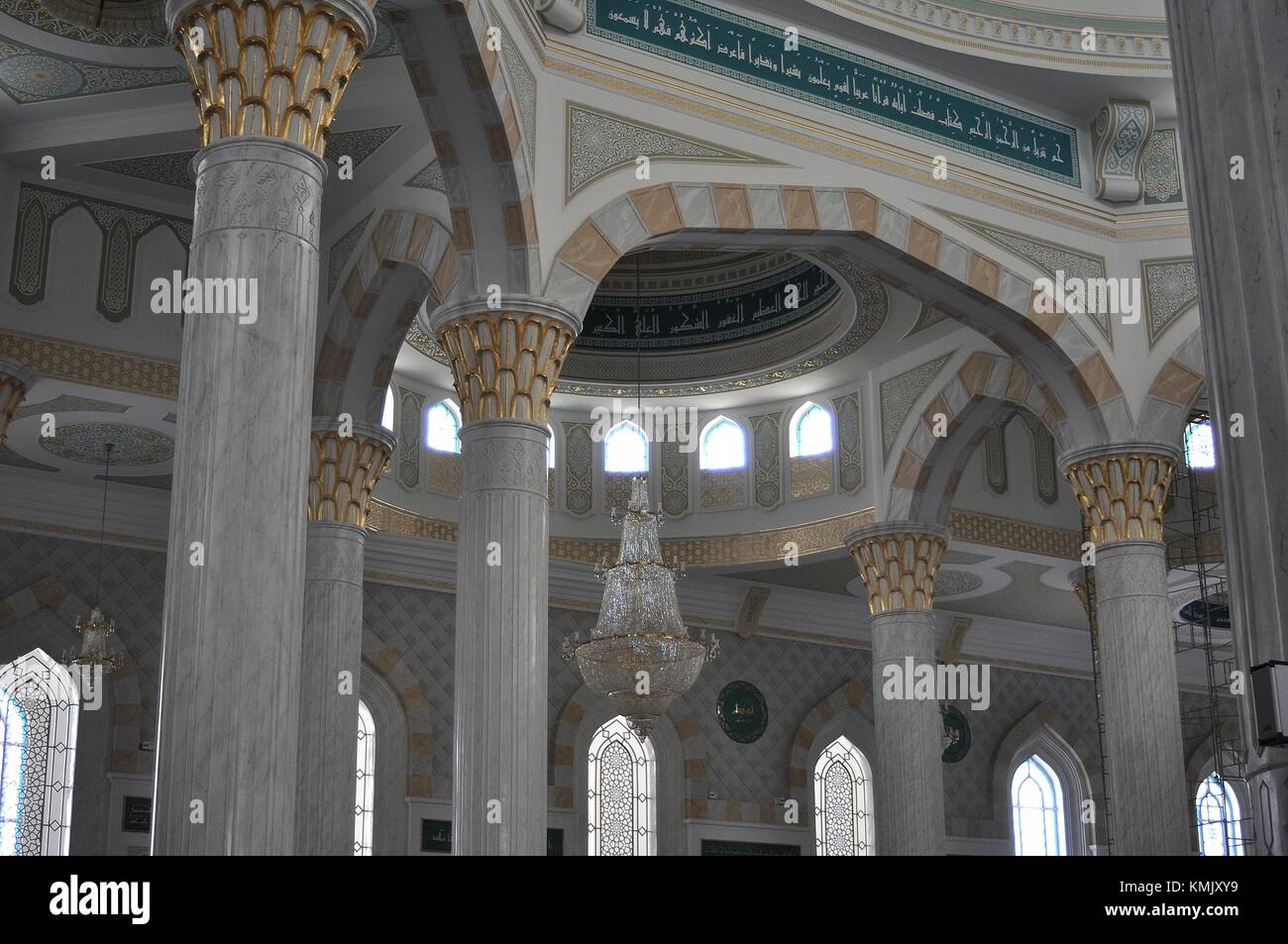 INTERIOR OF HAZRAT SULTAN MOSQUE, ASTANA, KAZAKHSTAN. Stock Photo