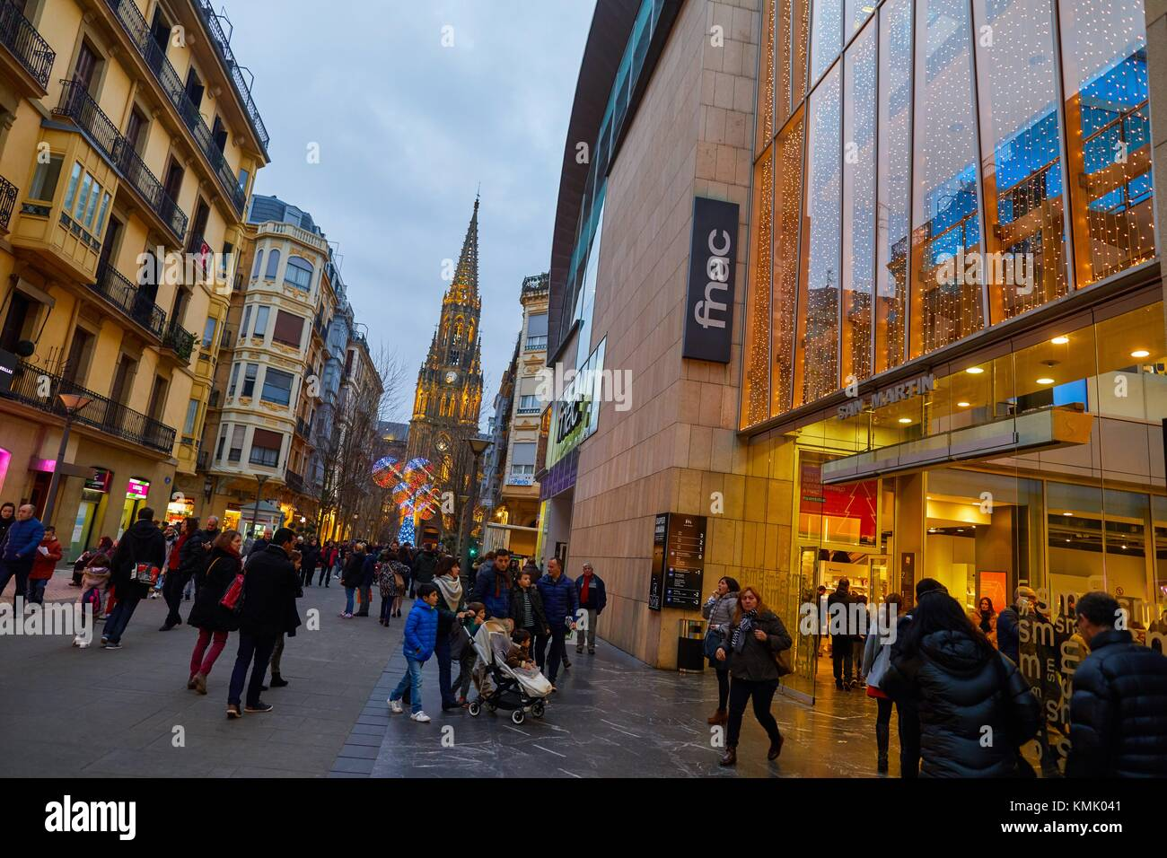 San Martin mall, Christmas, Buen Pastor Cathedral, Donostia, San Sebastian, Gipuzkoa, Basque Country, Spain, Europe - Stock Image