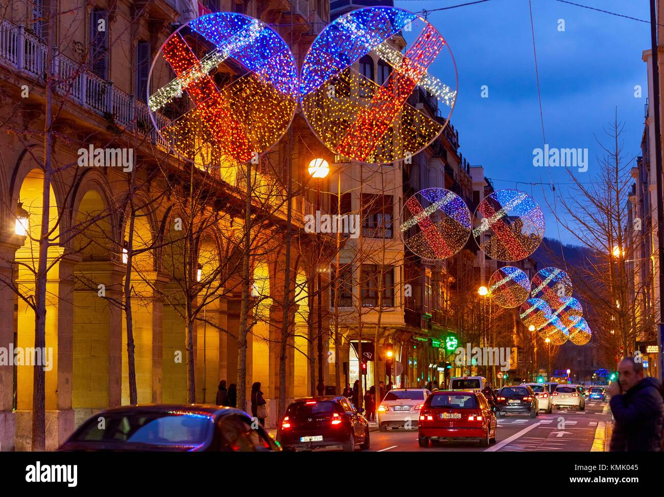San Martin street, Christmas, Donostia, San Sebastian, Gipuzkoa, Basque Country, Spain, Europe Stock Photo